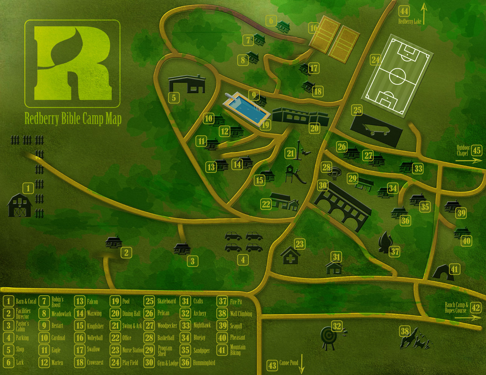 A site map of Redberry Bible Camps facilities.  Click Here to Download
