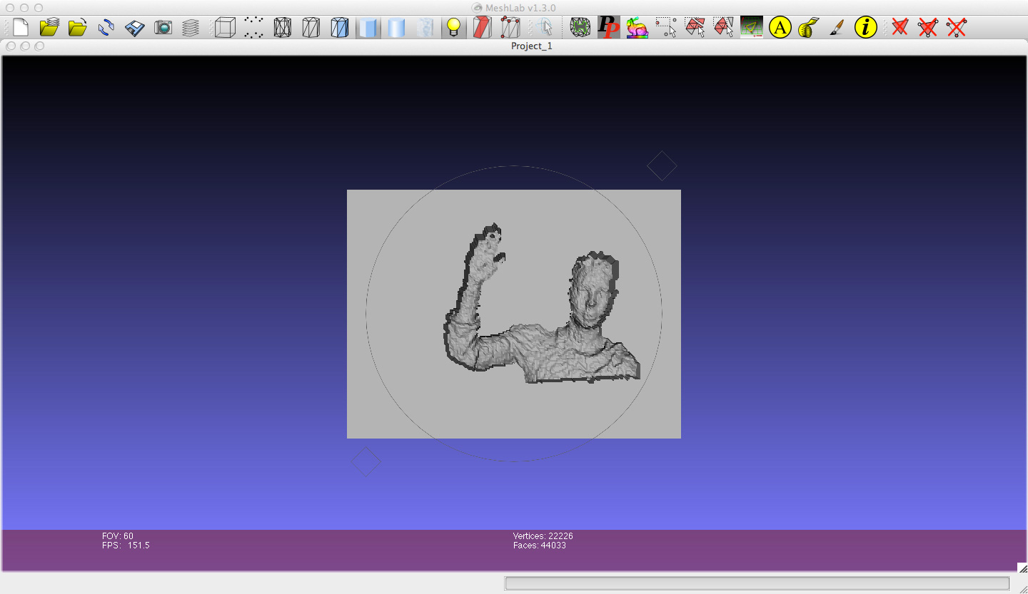 Refining the scan in MeshLab
