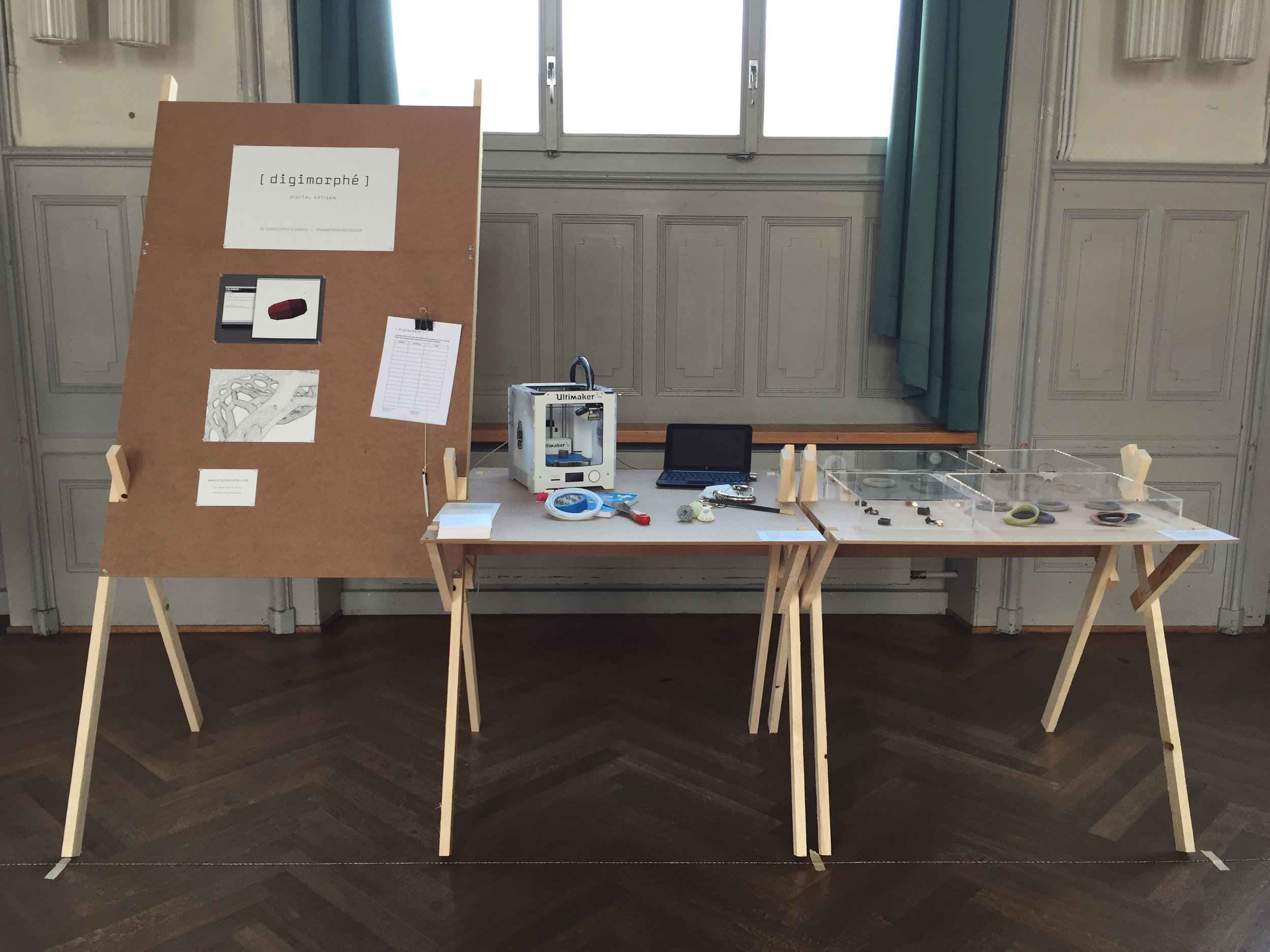 My stand showing the process and the products