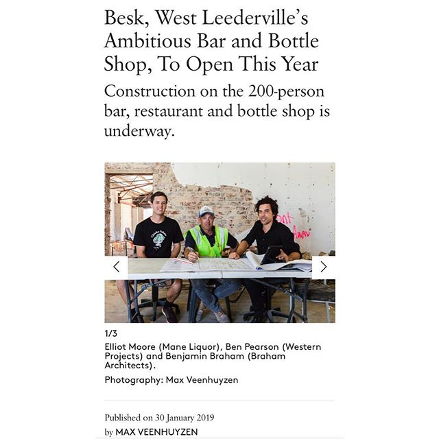 Thanks @maxveenhuyzen and @broadsheet.perth for today's article. We can't wait to open our venue to the fantastic and community minded West Leederville community. See you there soon.