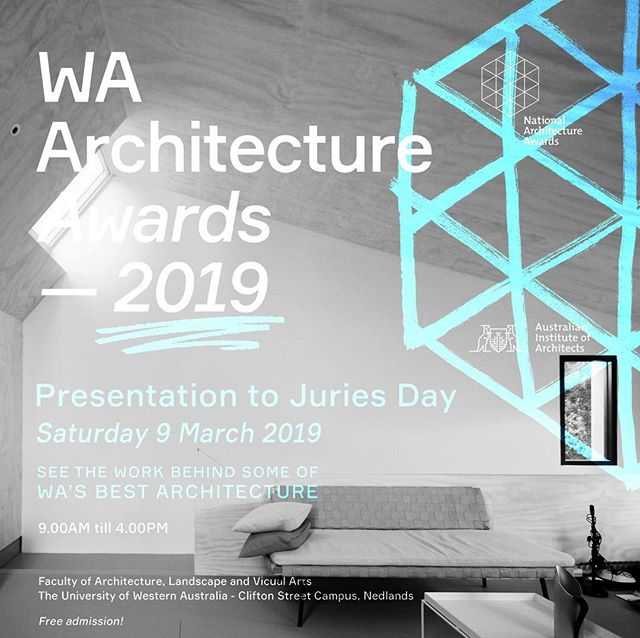 AIA Jury Presentations tomorrow at UWA where we'll be presenting Thompson Road - Beach Office in the category of Small Projects. Come see some of Perth's best projects being presented to the public.