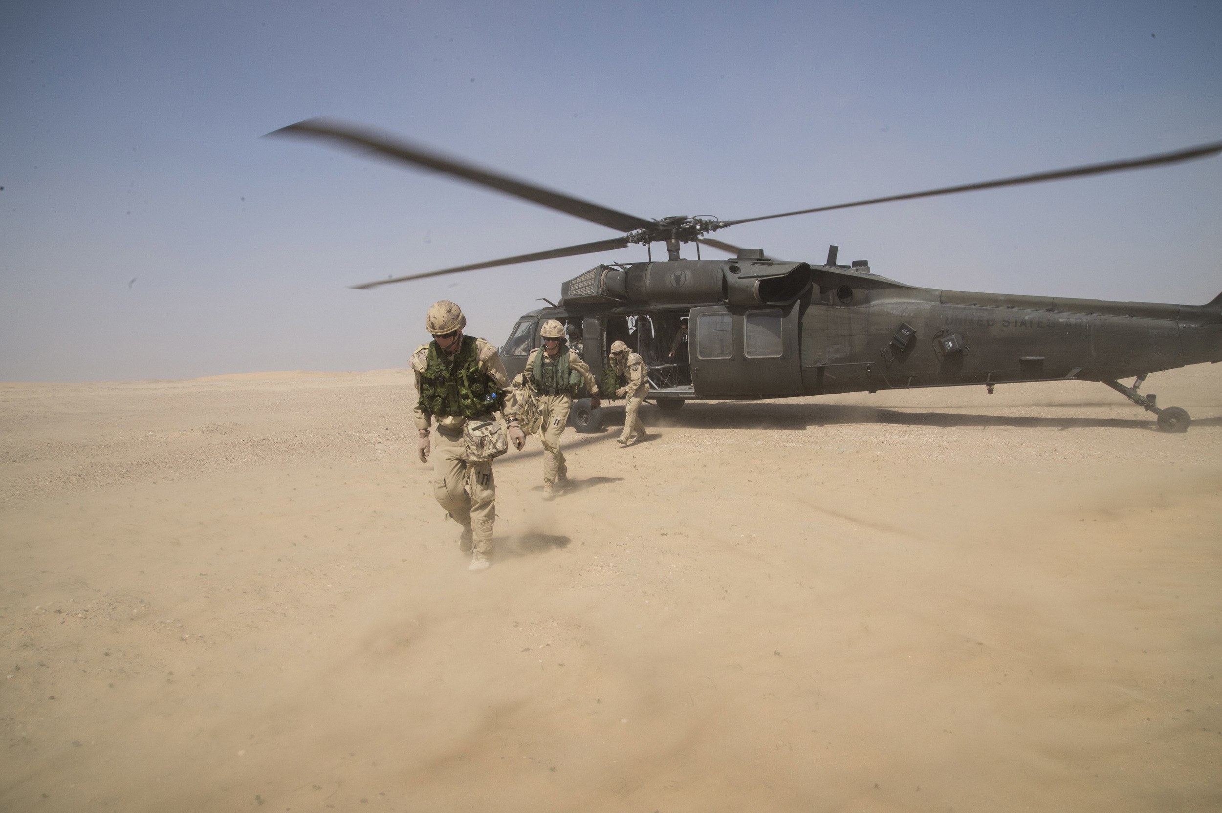 Royal Canadian Air Force members of Air Task Force-Iraq participate in the SHAMAL SERIALS, a combat search and rescue exercise held for personnel of the Middle East Stabilization Force, currently conducting operations against the Islamic State of Iraq and the Levant (ISIL) in a training area in Kuwait on March 16, 2015. (Combat Camera).