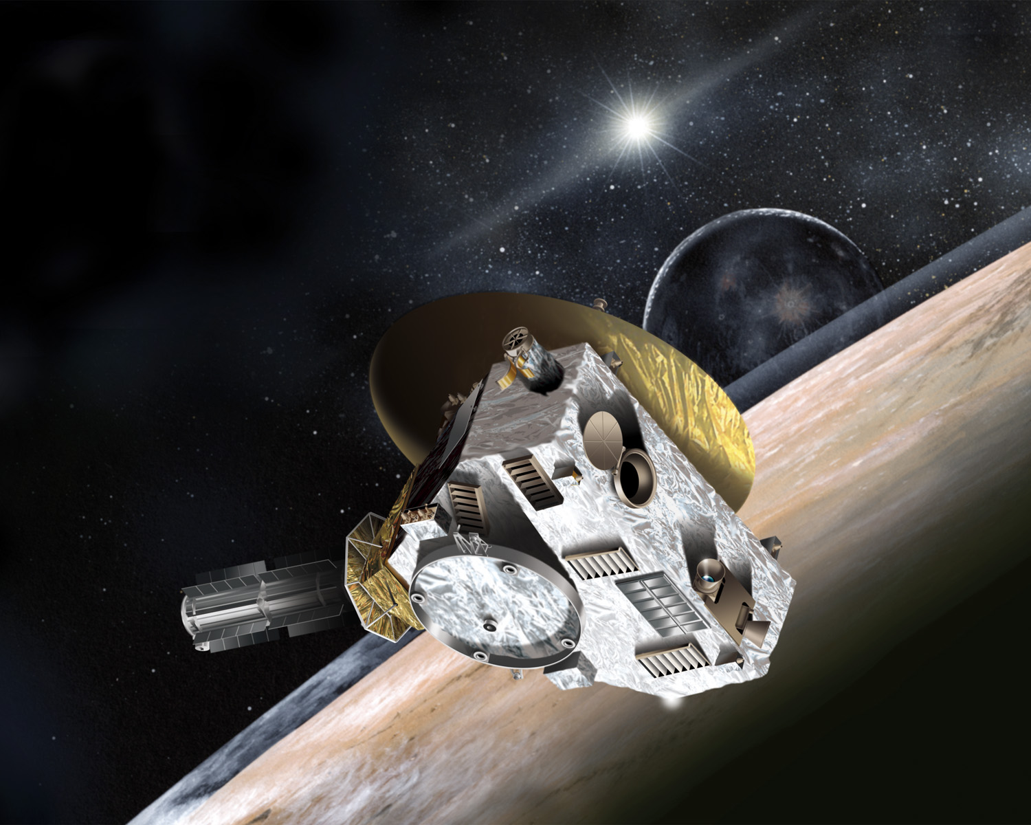 An illustration of NASA's New Horizons Spacecraft