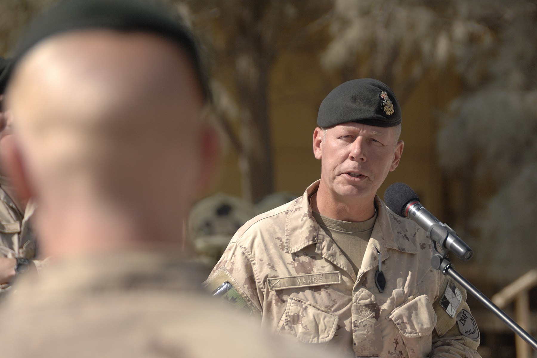 LGen Jonathan Vance, then a Brigadier General, delivers a speech while serving as Kandahar operation commander during Canada's participation in the Afghanistan conflict. (DND)