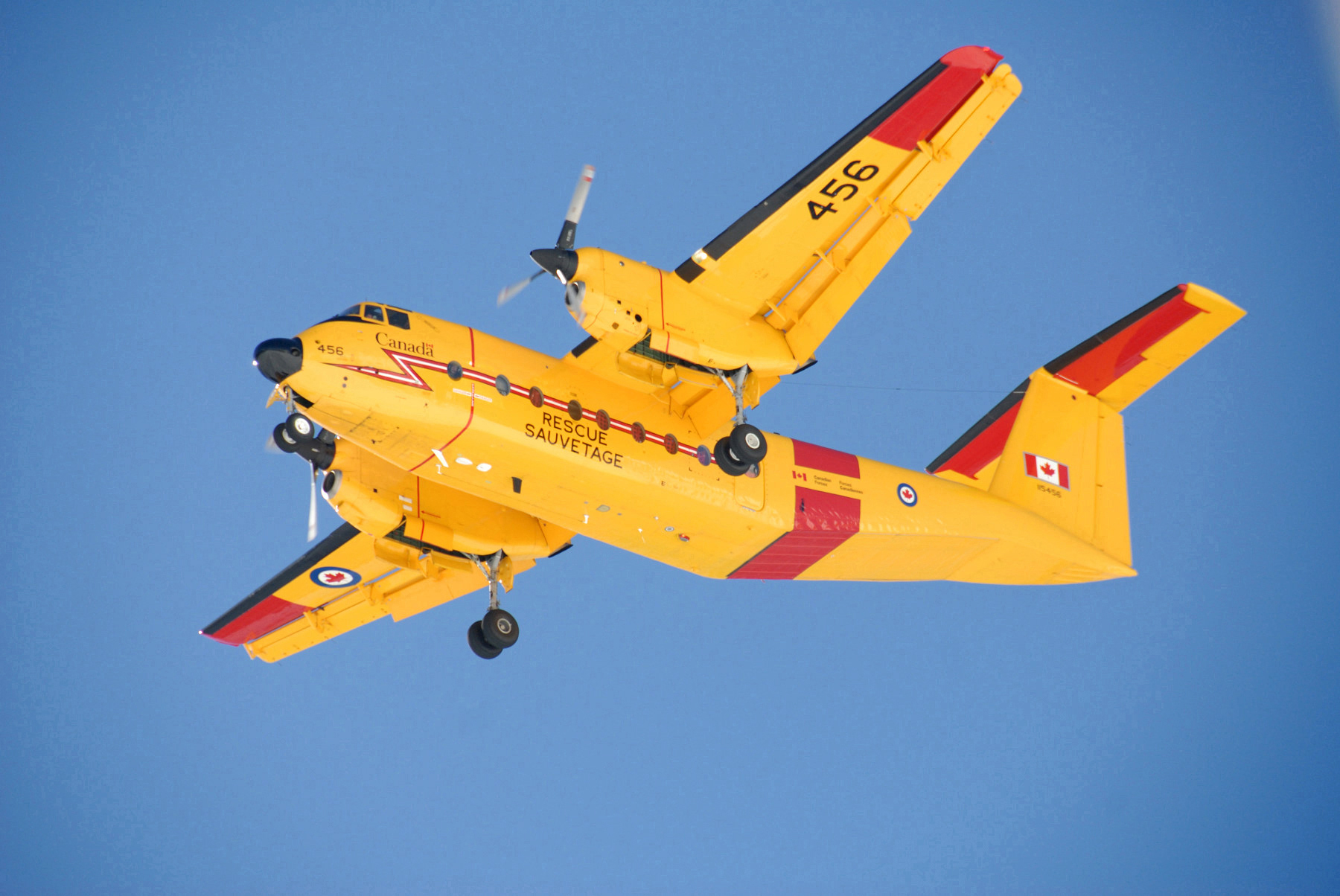 On March 31, 2015, the Government of Canada issued the request for proposal (RFP) for replacing the Canadian Armed Forces' current fleet of fixed-wing search and rescue (FWSAR) aircraft. Proposals will be judged under the Defence Procurement Strategy (DPS). All six Canadian Forces CC-115s are employed by 442 Transport and Rescue Squadron out of Comox, BC. There are currently two different fixed-wing aircraft performing search and rescue in Canada: The CC-130 Hercules performs many of Eastern Canada's SAR operations, while six CC-115 Buffalos (pictured) are employed by 442 Transport and Rescue Squadron out of Comox, BC.The squadron is responsible for a SAR zone stretching from the BC–Washington border to the Arctic, and from the Rocky Mountains to 1,200 km out over the Pacific Ocean. With a maximum load of 2,727 kg—or 41 fully equipped soldiers—the Buffalo has an operational range of 2,240 km. (DND)