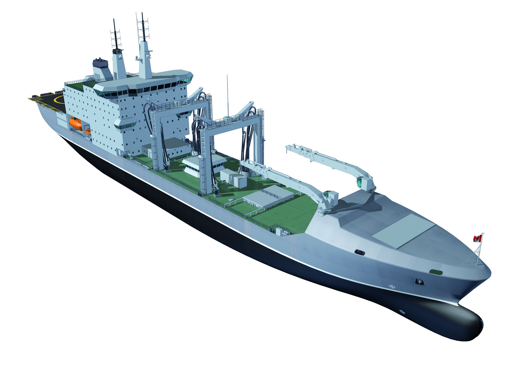 After it's converted, the Asterix will be able to accomodate a crew of 200 and land helicopters on its deck. The commercial container space will be converted into fuel tanks so the ship can resupply the fuel needs of Canadian ships on deployment. It will also deliver food and water, spare parts and any other supplies needed. (Davie)