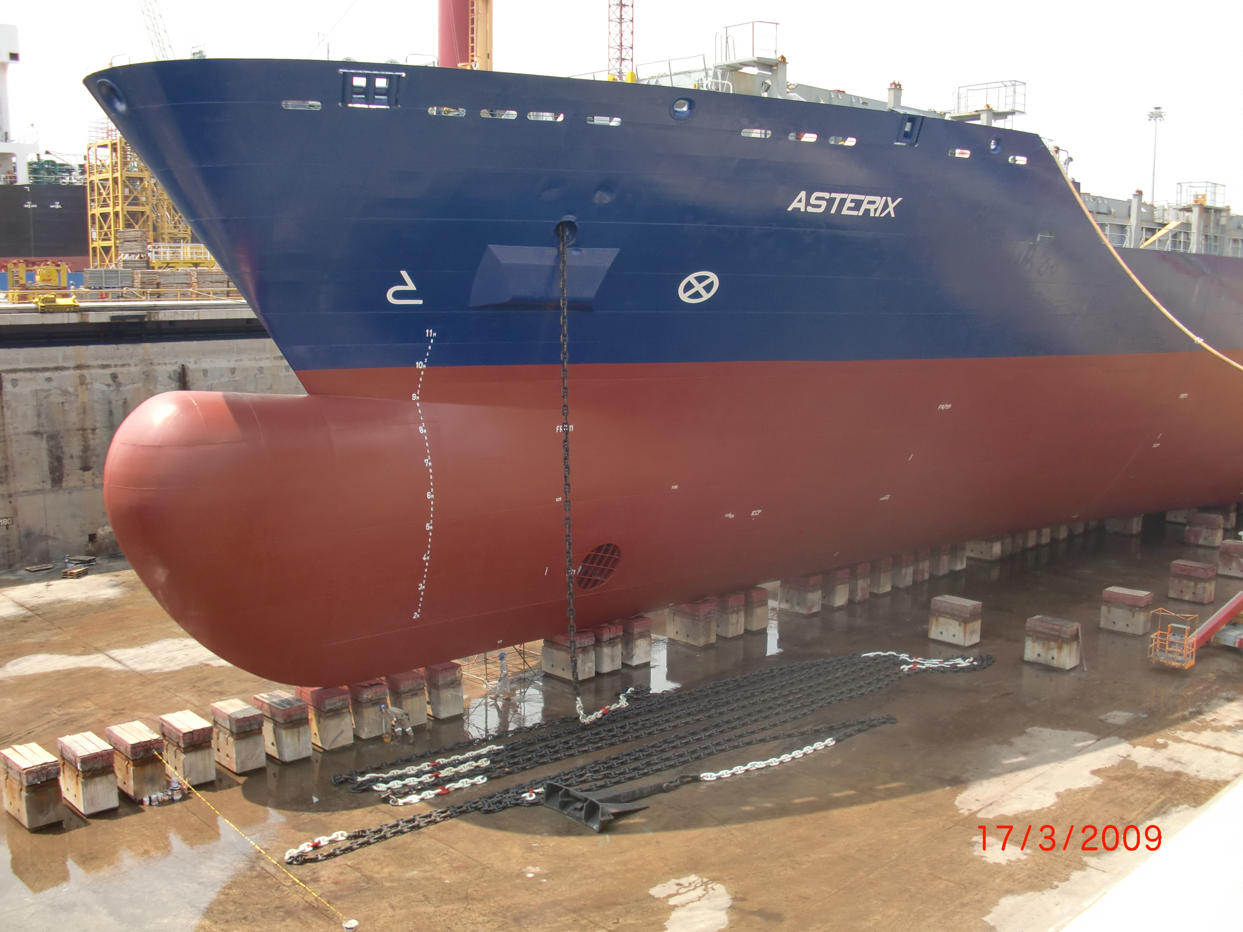 The Asterix, a commercial container ship seen here in dry docks, will become the new interim supply-ship for the Royal Canadian Navy after conversions are made by Davie Shipyards of Lévis, Quebec. (Davie)