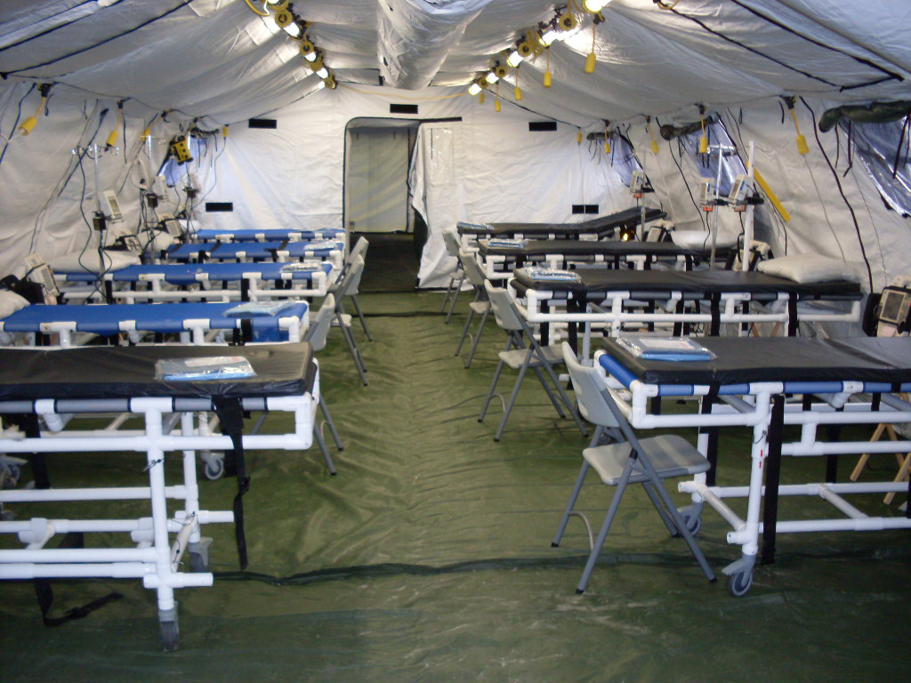 With heating and cooling controlled through a power management system, HDT tents are capable of functioning as medical facilities. The company is even pioneering technology to protect against chemical, biological, radiological and nuclear (CBRN) threats. (HDT Global)
