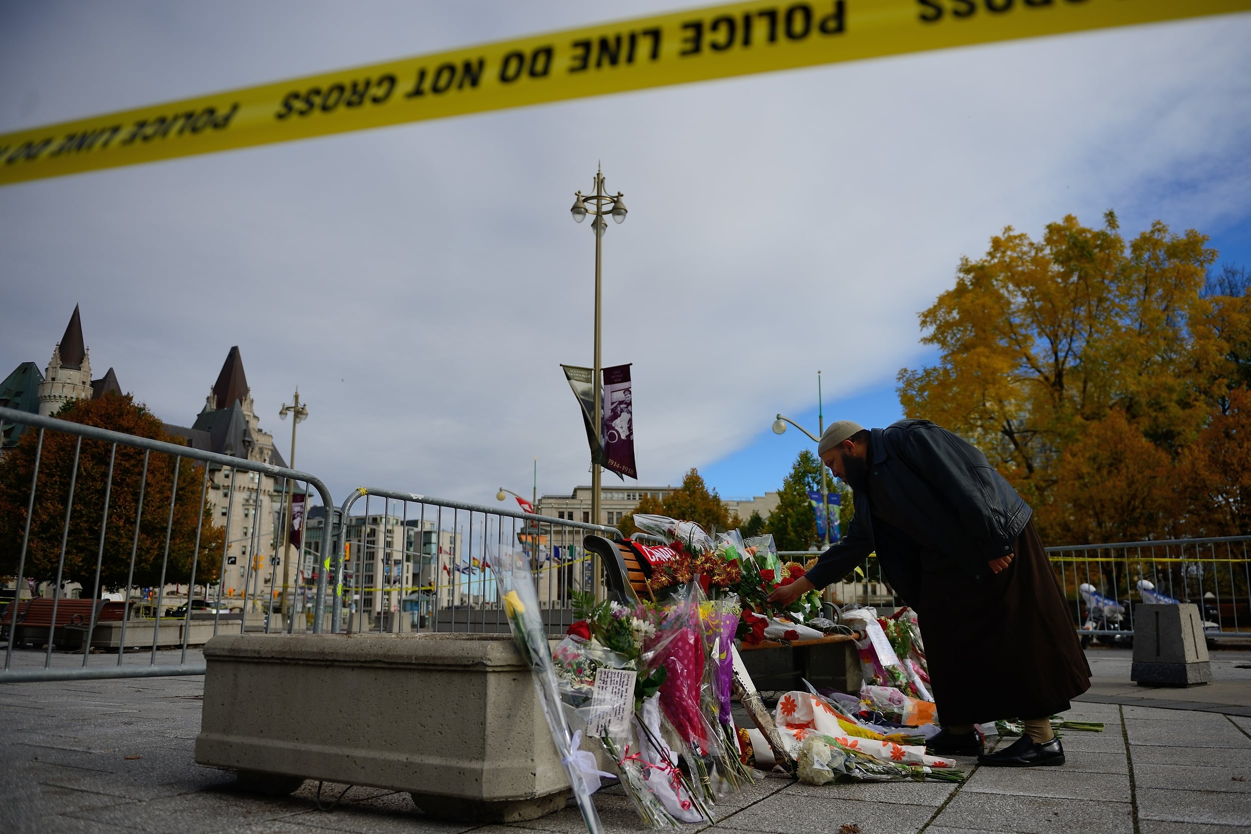 Flowers left at the National War Memorial where Corporal Nathan Cirillo was fatally shot by lone gunman Michael Zehaf-Bibeau on October 22, 2014. (combat camera)