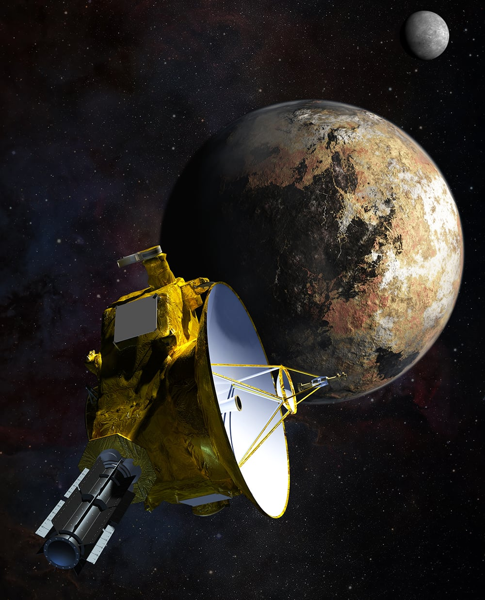 An artist's depiction of the New Horizons' proximity to Pluto and Charon. (wikipedia)