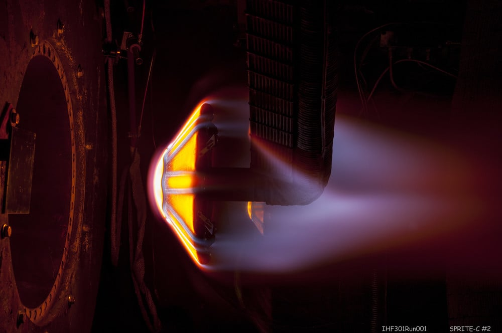 Heating simulation testing ADEPT heat shield. (NASA)
