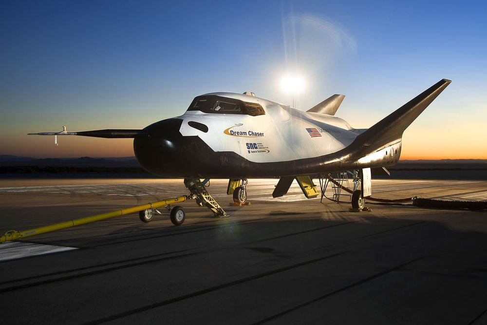 Sierra Nevada Corporation`s Dream Chaser spacecraft undergoing ground testing at NASA`s Edwards Air Force Base in California. (wikipedia)