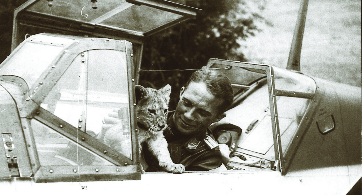 Luftwaffe Oberleutnant Franz Xaver Baron Von Werra and Simba, his pet lion cub, in the cockpit of his famous Messerschmitt Bf 109. Von Werra was shot down over Kent, England, on September 5, 1940 and taken prisoner. After multiple successful yet short-lived escape attempts, he was to be transferred with other German prisoners to a newly built prisoner of war camp on the shore of Lake Superior.