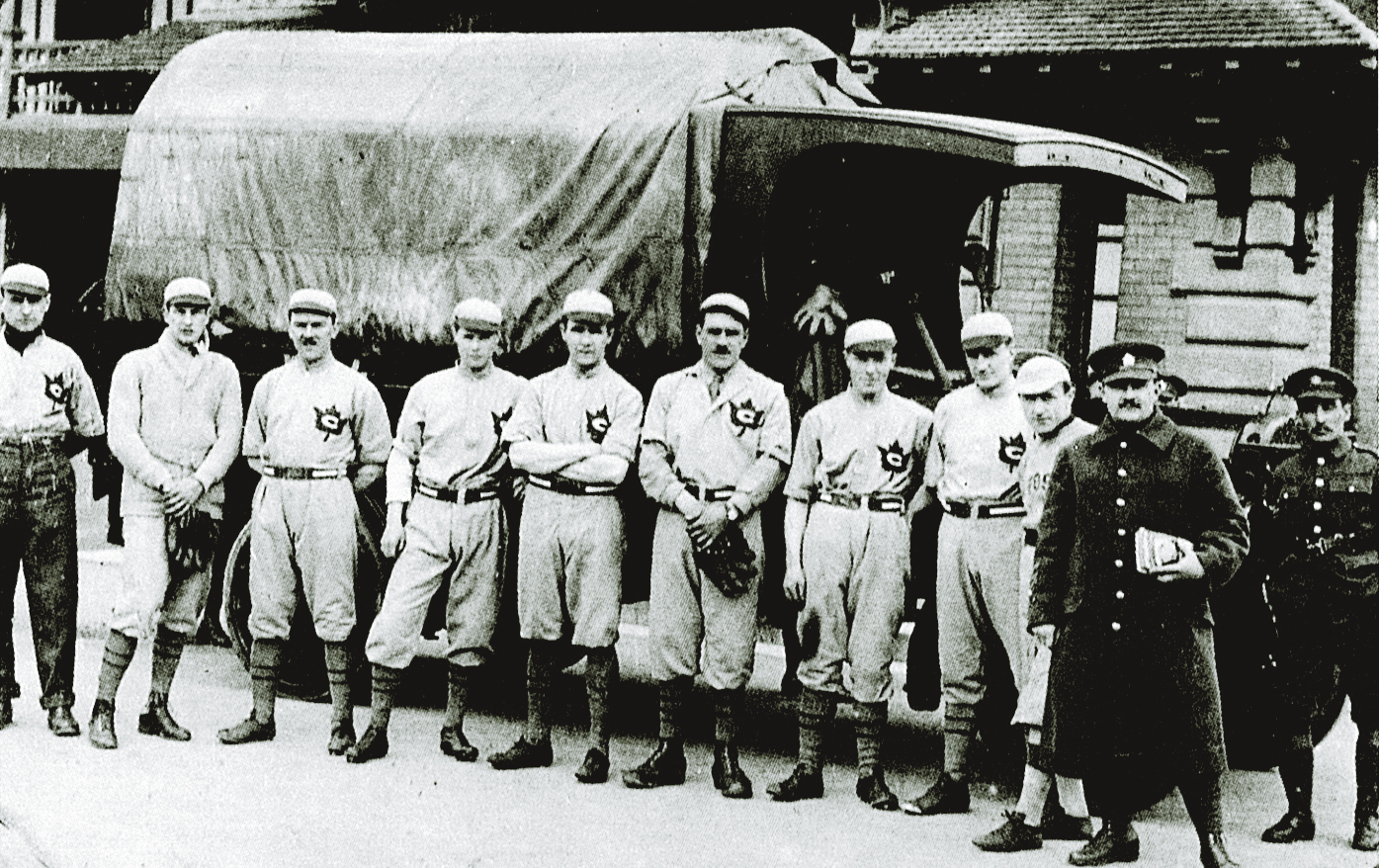 Sports were just as important at war as back home. To provide entertainment for the troops, matches were organized between teams and countries. Baseball teams played behind the lines and in Britain during the Great War, as did soccer teams. (Canadian War Museum, 19770477-011)