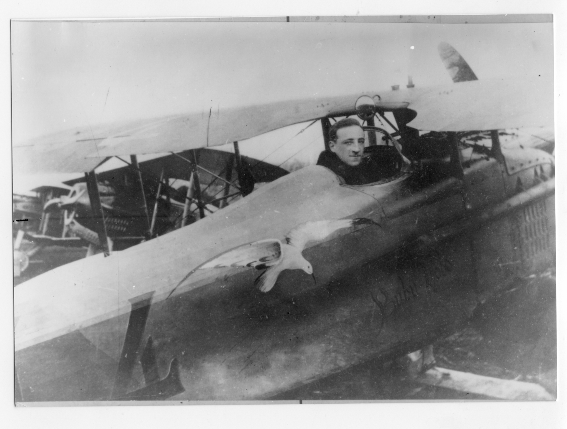 Adjutant Eug ène Butscher of escadrille N.151 in a Spad VII. On August 21, 1917 he downed an enemy plane near Burnhaupt for the unit`s first victory, but scored no more before his evacuation to hospital on August 7, 1918. (Service Historique de Defense, Air B82-4377)