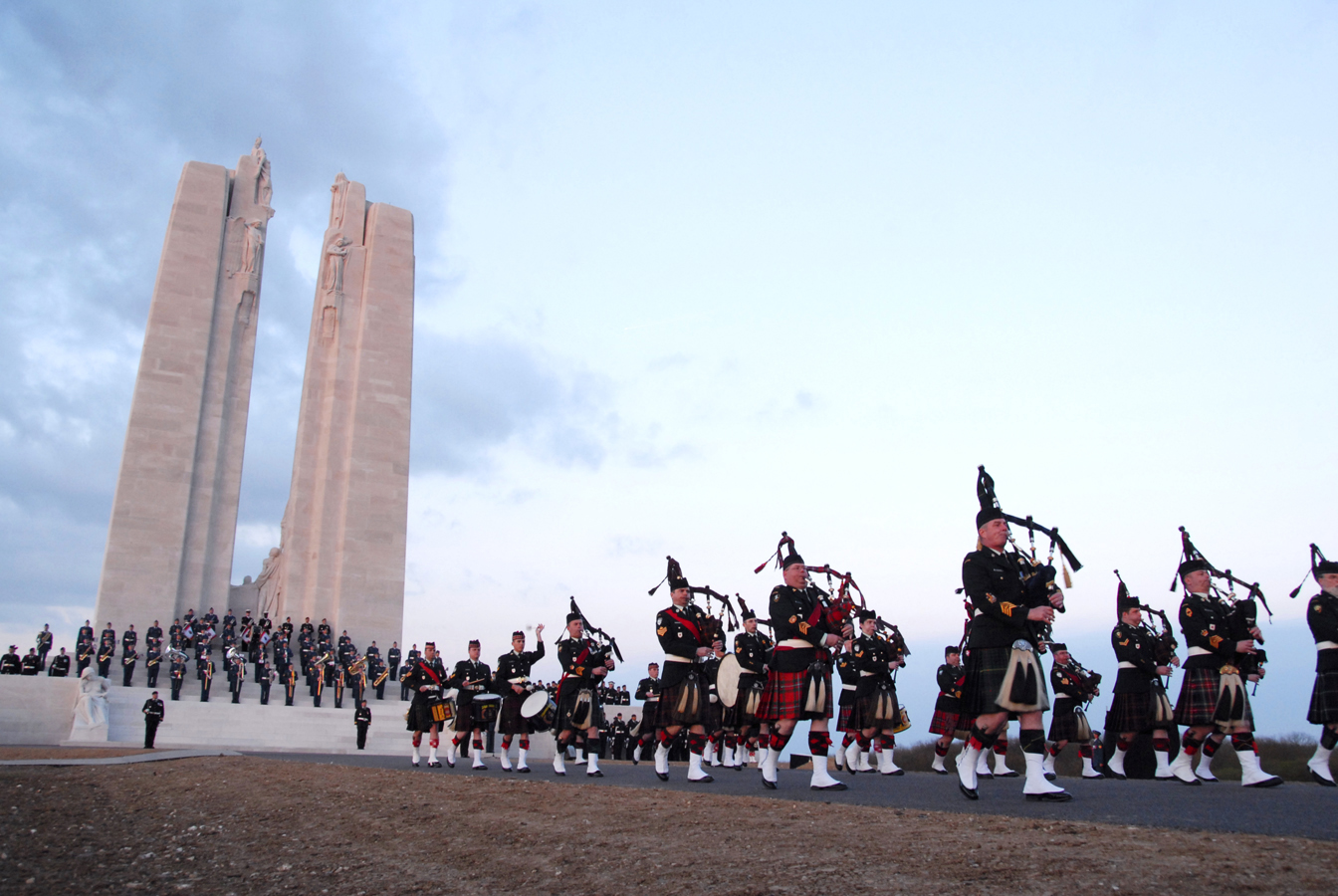 Canadians take part in a sunset ceremony at Vimy Ridge, France.