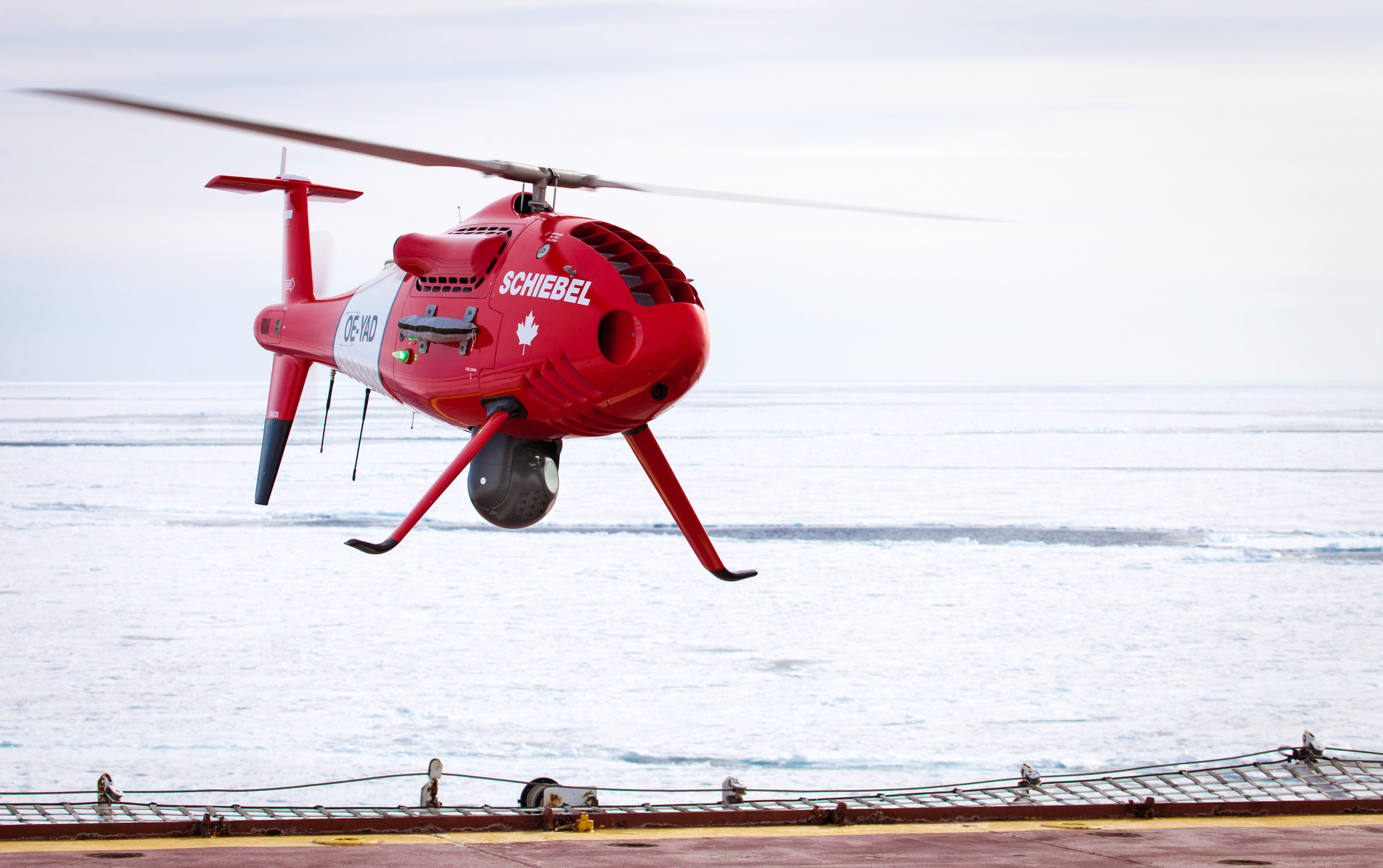On March 28, 2016, Schiebel's Camcopter S-100 was launched from the deck of a Canadian Coast Guard vessel off the coast of Newfoundland.