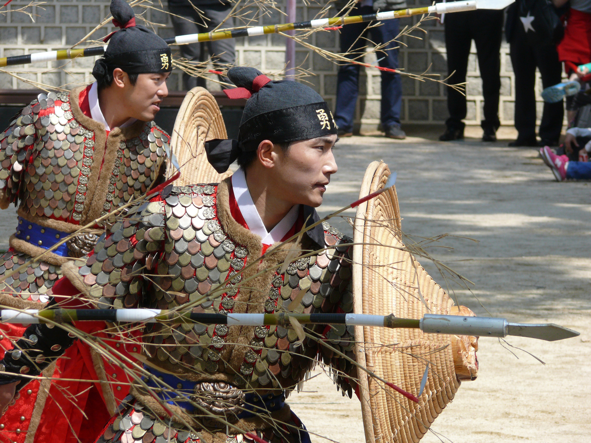 Historical re-enactors put on daily displays of mock combat at the Su Won Fortress.