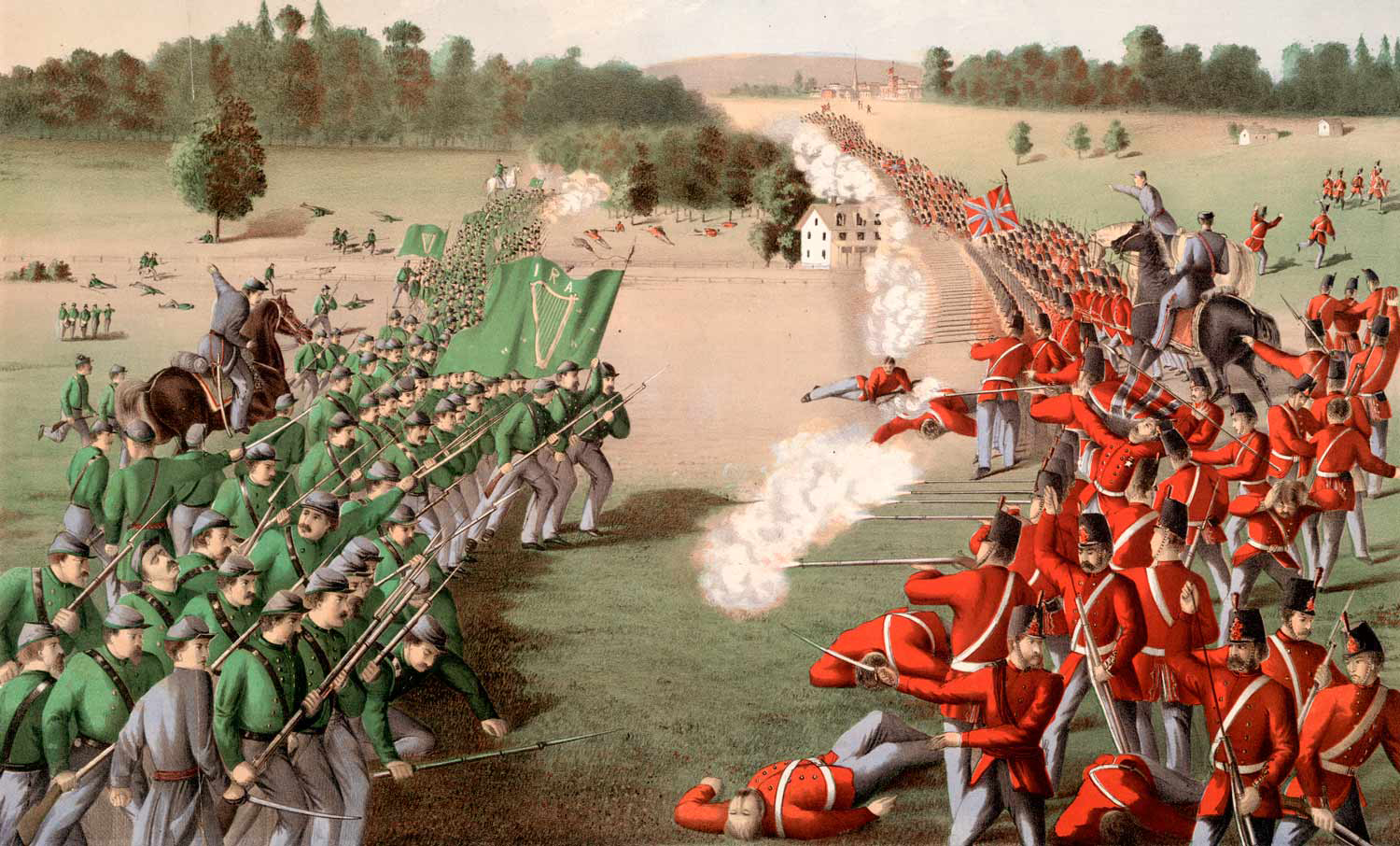 The charge of the Fenians (wearing green uniforms) under Colonel John O'Neill at the Battle of Ridgeway, near Niagara, Canada West, on June 2, 1866. In reality, the Fenians had their own green flags but wore a very mixed bag of Union and Confederate uniforms (if they still had them, or parts of them left over from the Civil War), or civilian garb, with strips of green as arm or hat bands to distinguish themselves. (library and archives canada, c-18737)