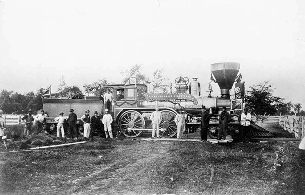 Locomotive MILWAUKEE of the Welland Railway Co., which conveyed volunteers from St. Catharines to Port Colborne at the time of the Fenian Raid, June 1, 1866. (library and archives canada)