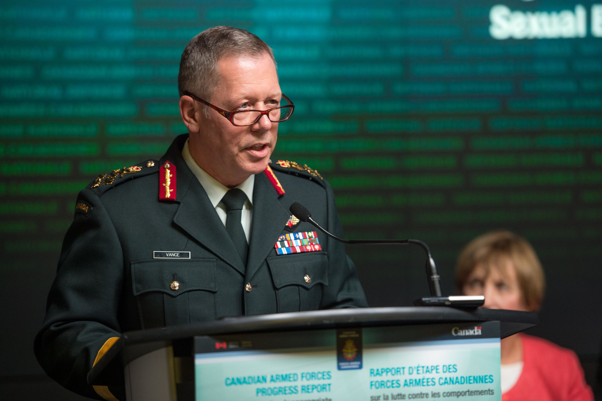 Chief of the Defence Staff, General Jonathan H. Vance, addresses the audience during an Operation HONOUR Progress Review held on August 30, 2016 at National Defence Headquarters in Ottawa, Ontario.  Photo: Corporal (Cpl) Michael MacIsaac  Canadian Forces Support Unit (Ottawa)/ Unité de soutien des Forces canadiennes (Ottawa)  SU12-2016-1062-001