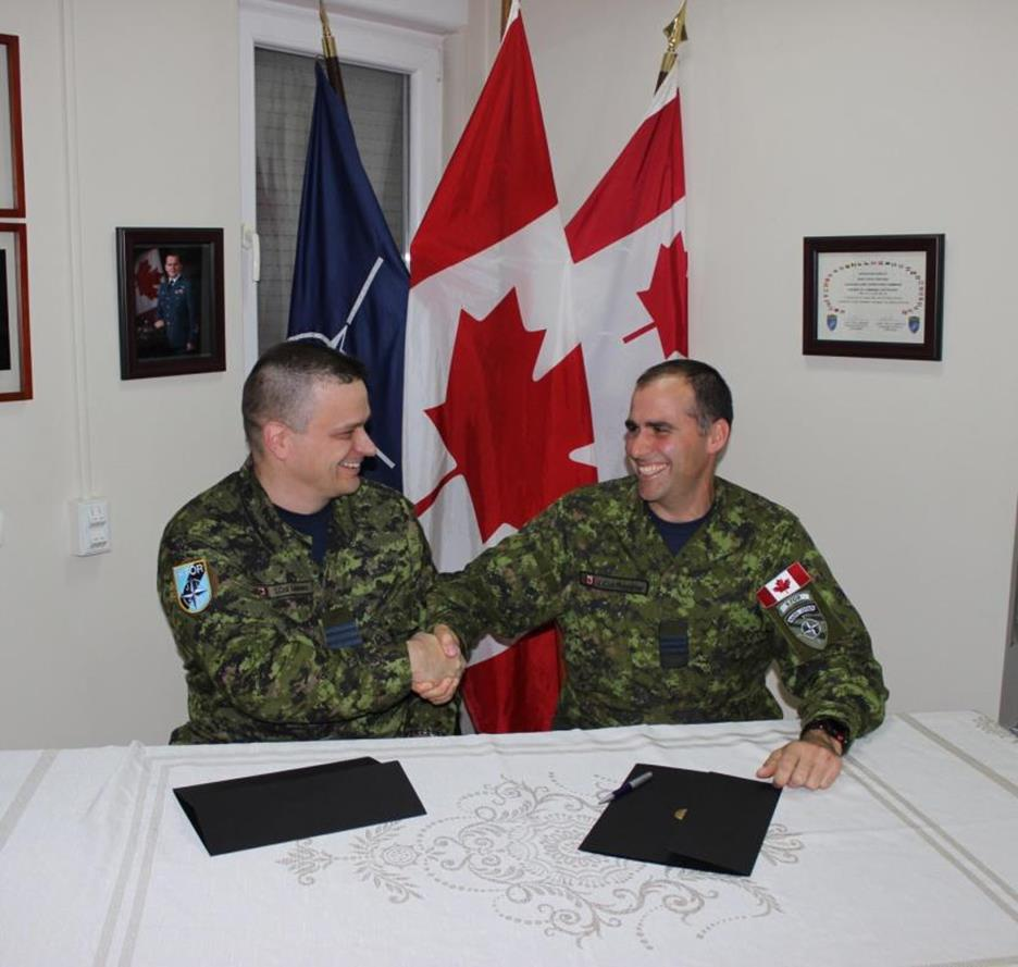 Outgoing Commander, LCol Michel Lefebvre (left on the picture), and incoming Commander LCol Simon Poudrier (right on the picture), signed the transfer of authority documents on October 29, 2016, in Pristina, Kosovo, for the command of Op KOBOLD. Op KOBOLD is Canada's contribution to the Kosovo Force (KFOR), the NATO-led peace-support operation working to develop a capable Kosovo Security Force.