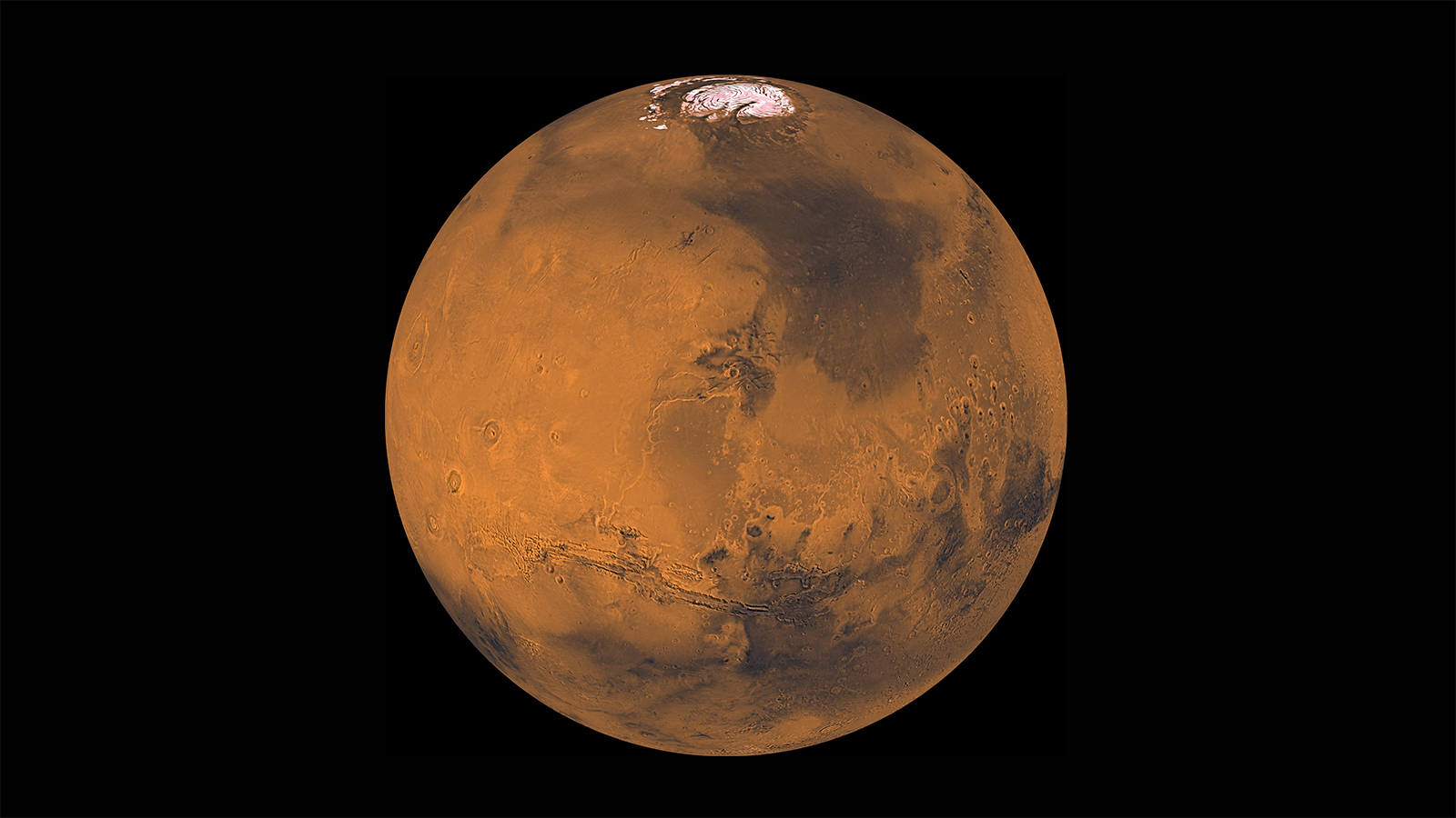 About 1000 Viking Orbiter red- and violet-filter images have been processed to provide global color coverage of Mars at a scale of 1 km/pixel. Image Credit: NASA/JPL/USGS