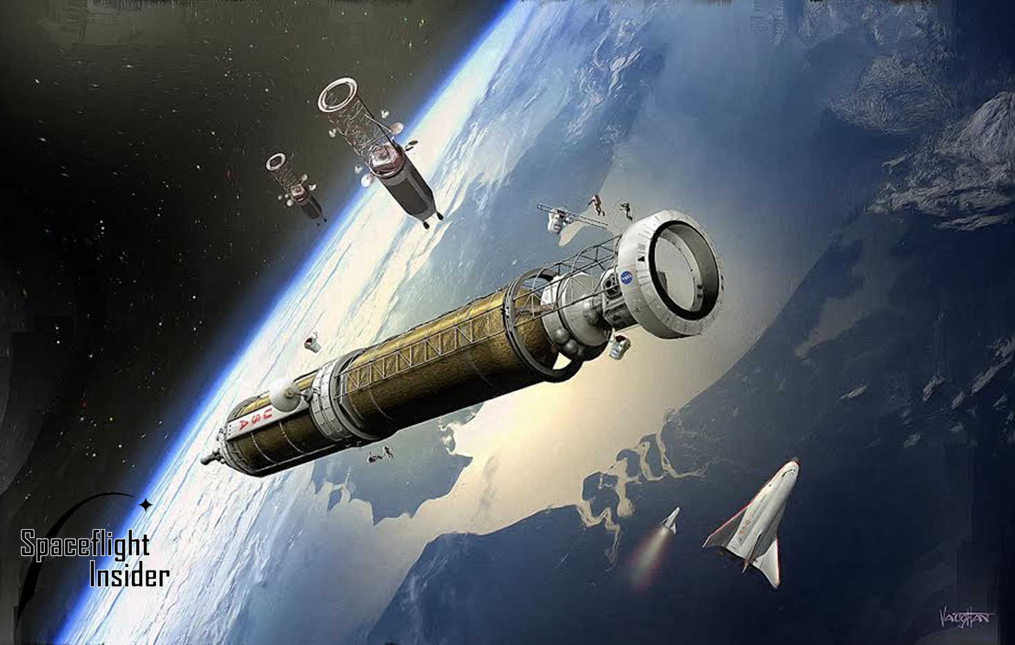 Other organizations, such as NASA and Boeing, are proposing  on-orbit assembly of a Mars craft using multiple super-heavy lift launch vehicles. However, SpaceX's system will require Earth-orbit rendezvous for the refueling of the second stage spaceship. Image Credit: James Vaughan / SpaceFlight Insider