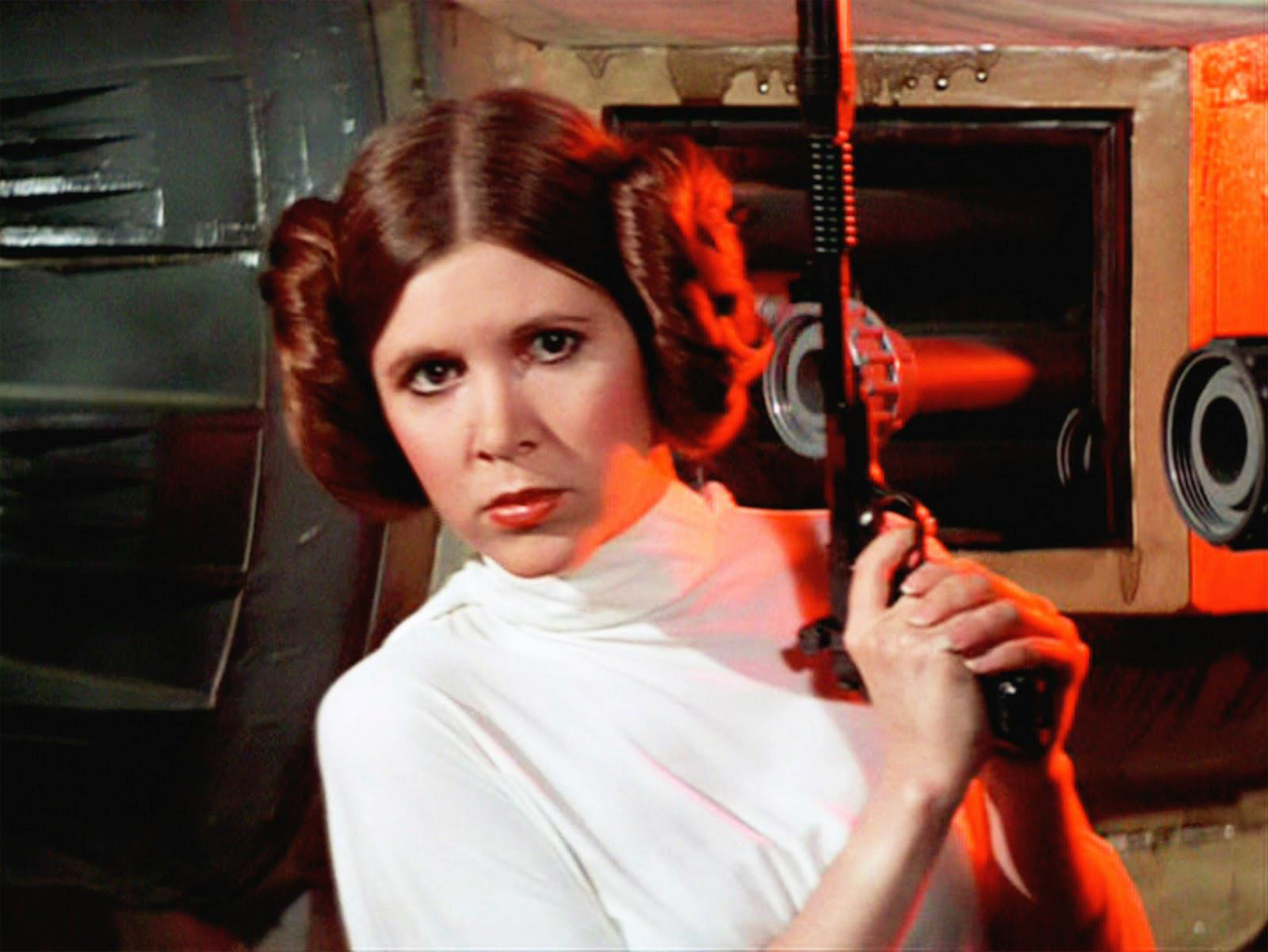 Actor, author, humourist, Carrie Fisher will be tied to Star Wars' iconic Princess Leia. (still from the 1977 original Star Wars film)