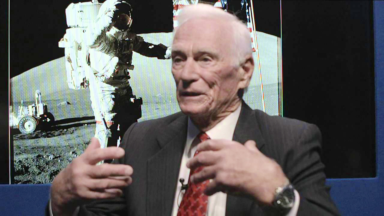 Eugene Cernan commanded the Apollo 17 spacecraft in December 1972 and was the last man to leave the moon as the NASA Apollo lunar landing program was cancelled shortly after. (A still from a 2013 YouTube interview on space programs https://www.youtube.com/watch?v=MvcmhHCVijU)