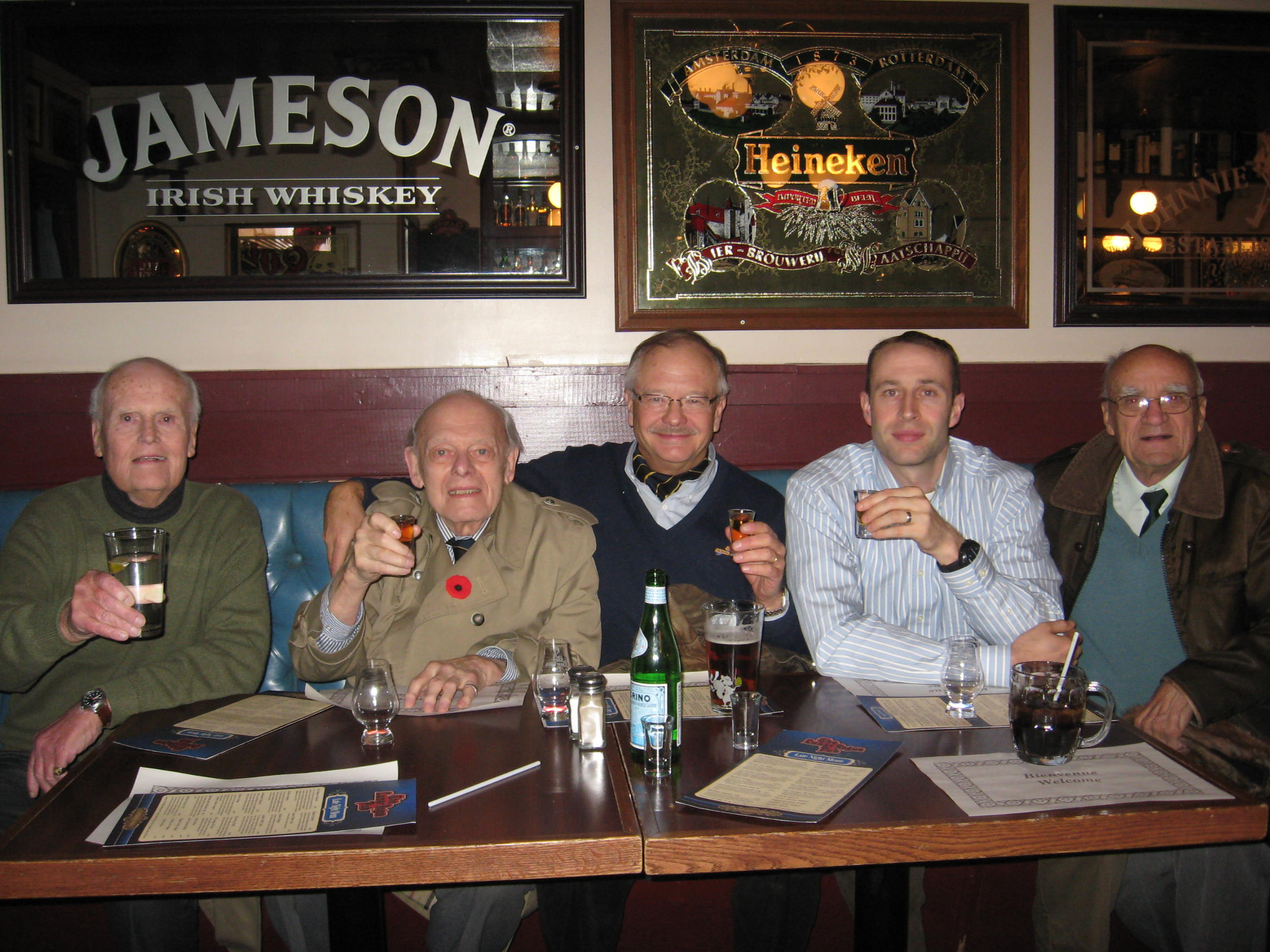 """On November 3, 2014, fellow Royal Canadians joined Ed in his annual toast to """"The Flying Deuce"""" at a Fredericton Scotch bar, following 2 RCR's ceremonies commemorating the Battle of the Song-gok Spur. From left to right: John Woods, Ed Mastronardi, Bob Near, Greg White, Red Butler."""