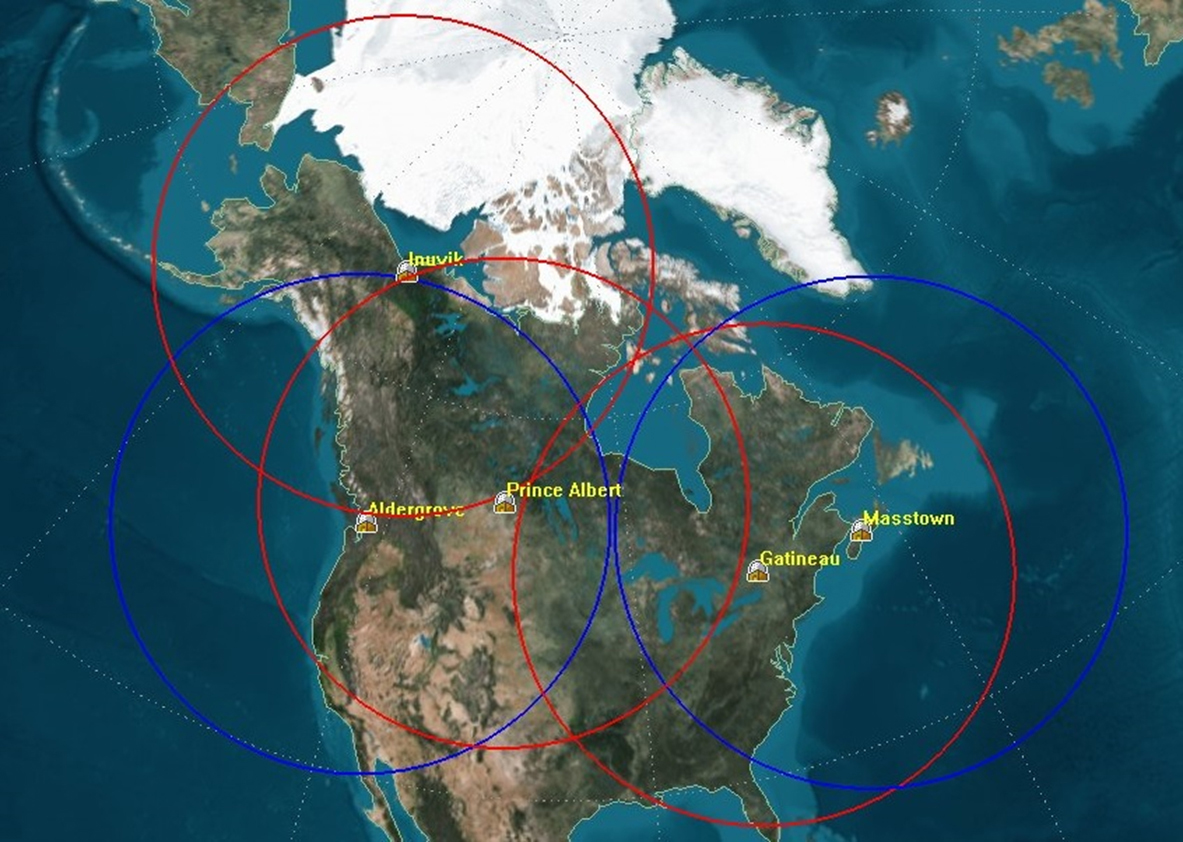 RADARSAT Constellation Mission (RCM) will consist of a constellation of three identical satellites flying in a low-earth orbit (altitude from 586 km to 615 km above the Earth). This graphic illustrates the national ground station locations — at Aldergrove, Inuvik, Prince Albert, Gatineau and Masstown in Canada — and their coverage areas on a map of North America. (csa)