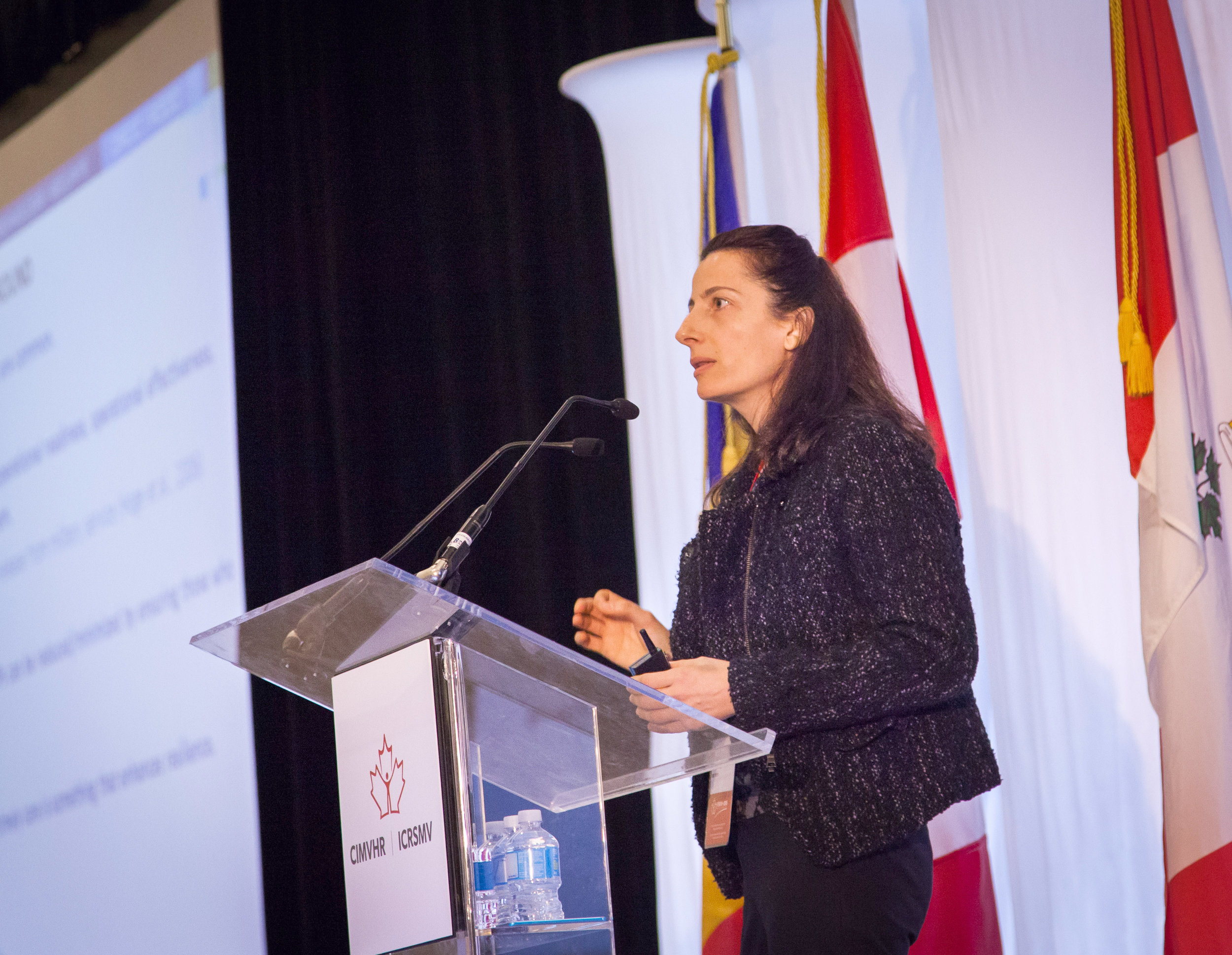 """Dr. Deniz Fikertoglu, of Defence Research and Development Canada (DRDC), delivers the Featured Banting Award Talk with her presentation titled """"Mental Health Service Use in the Canadian Armed Forces: The Past, The Present, and the Future."""""""