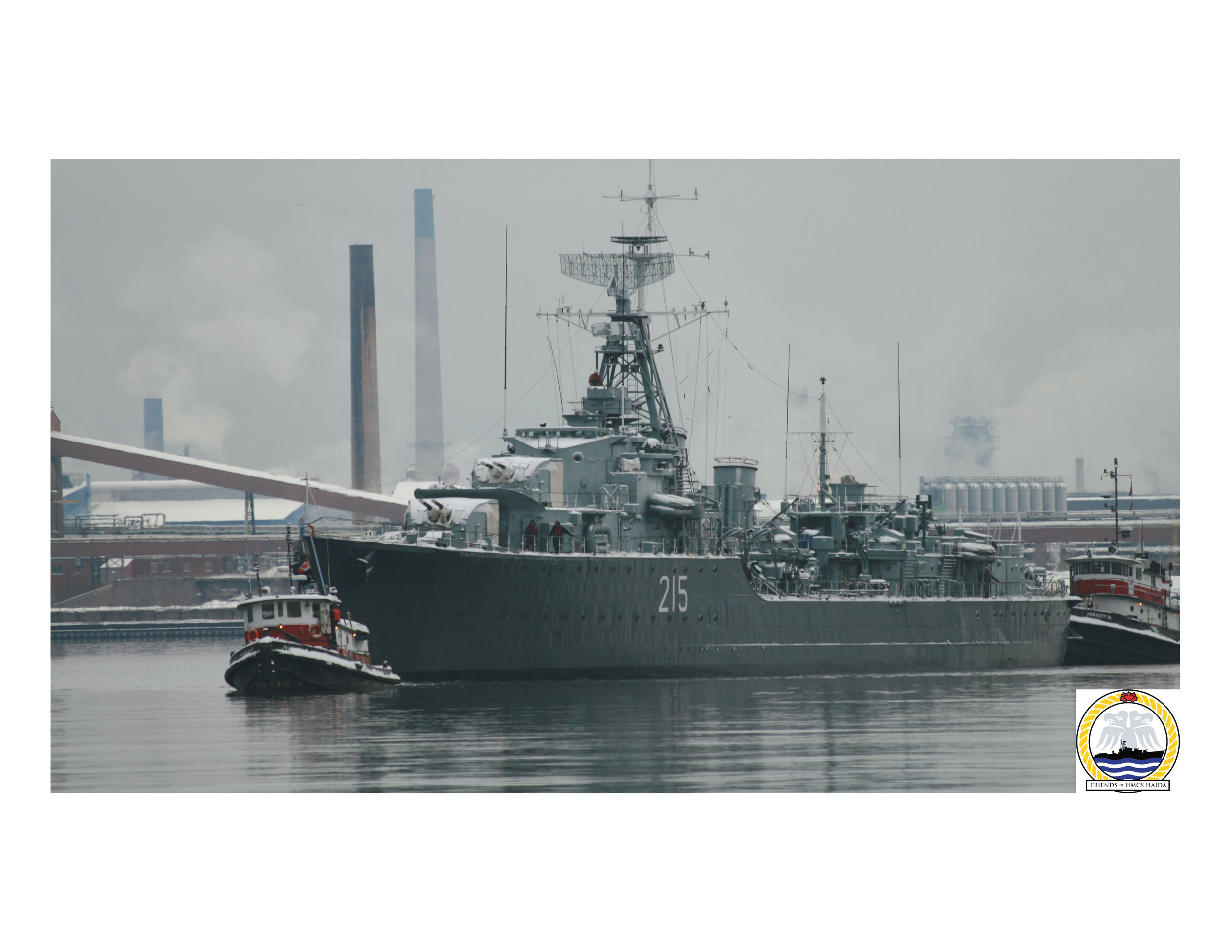 On a grey December 17, 2016, 75 years after her keel was laid down, HMCS Haida returned to Pier 9 from dry dock at Heddle Marine Services, where she spent four months undergoing $5-million in repairs and upgrades. Parks Canada's national historic site will once again welcome visitors aboard as of May 19, 2017. (friends of hmcs haida)