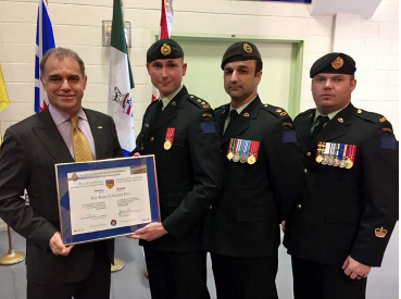 Yves Desjardins-Siciliano, President and CEO, VIA Rail Canada; Lieutenant Sebastien Langlais, Combat engineer officer, 34 Combat Engineer Regiment and Senior project manager, Rolling stock, VIA Rail Canada; Major Daniel Doran, 34 Combat Engineer Regiment; and Warrant Officer Jean-Philippe Léonard, 34 Combat Engineer Regiment.
