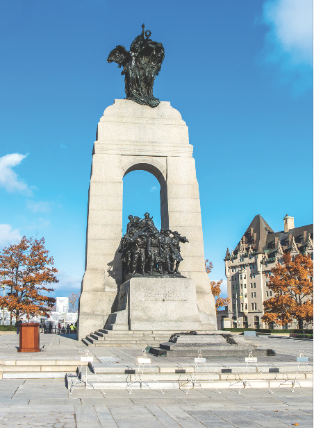 The National War Memorial honours the more than 1,500,000 Canadianswho fought for Canada. (richard lawrence, compliments of the royal canadian legion dominion command)