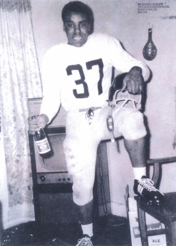 fter the war, Randolph Hope played football for the Saint John Wonder, 1960.