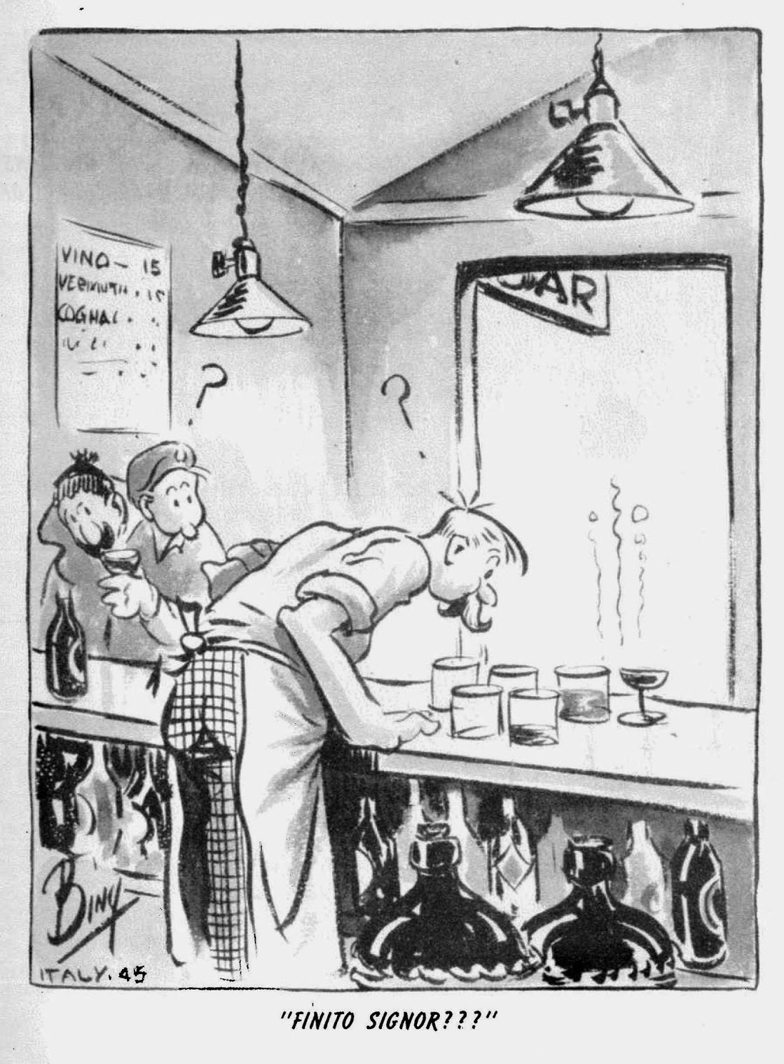 """Canadian cartoonist William """"Bing"""" Coughlin articipated in the invasion of Sicily in 1943. Through his main character, Herbie, Coughlin illustrated many of the similar hardships and general complaints that abounded in any army: lack of food, horrible weather, and the need to constantly dig in. This 1945 cartoon is one example of what soldiers should not do: drink local alcohol."""