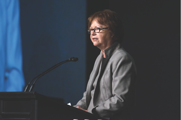 The Honourable Judy Foote, Minister of Public Services and Procurement, gives her speech at CANSEC 2016. In it, she detailed the Liberal's plans on procurement matters while also touting the government's desire for transparency. But in February 2017, Foote seemed unconcerned about one bidder's concerns about the current process and worry of bias in the competition. (richard lawrence)