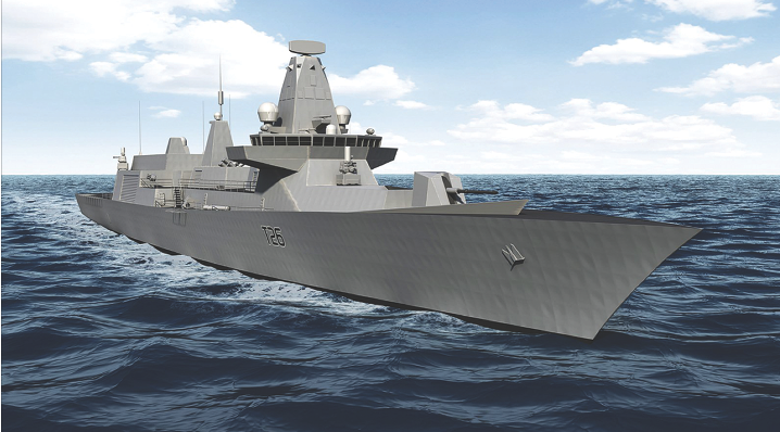 An artist's rendering released by BAE Systems of the expected form of the Global Combat Ship, a United Kingdom program to replace the Royal Navy's Type 22 and Type 23 frigates through the Future Surface Combatant program, which has yet to start construction. Originally, the Liberal government said only proven warship designs would be considered for the CSC, but it reneged on that point just a few months later. (bae systems)