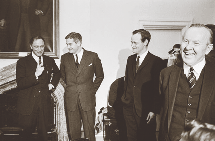 Liberal dynasty in the making: Pierre Elliott Trudeau, John Turner, Jean Chrétien and Prime Minister Lester B. Pearson together following Cabinet changes in April 1967. Each of these men would leave their mark in Canadian history. (  duncan cameron  ,   library and archives canada  ,   pa  -  117107  )