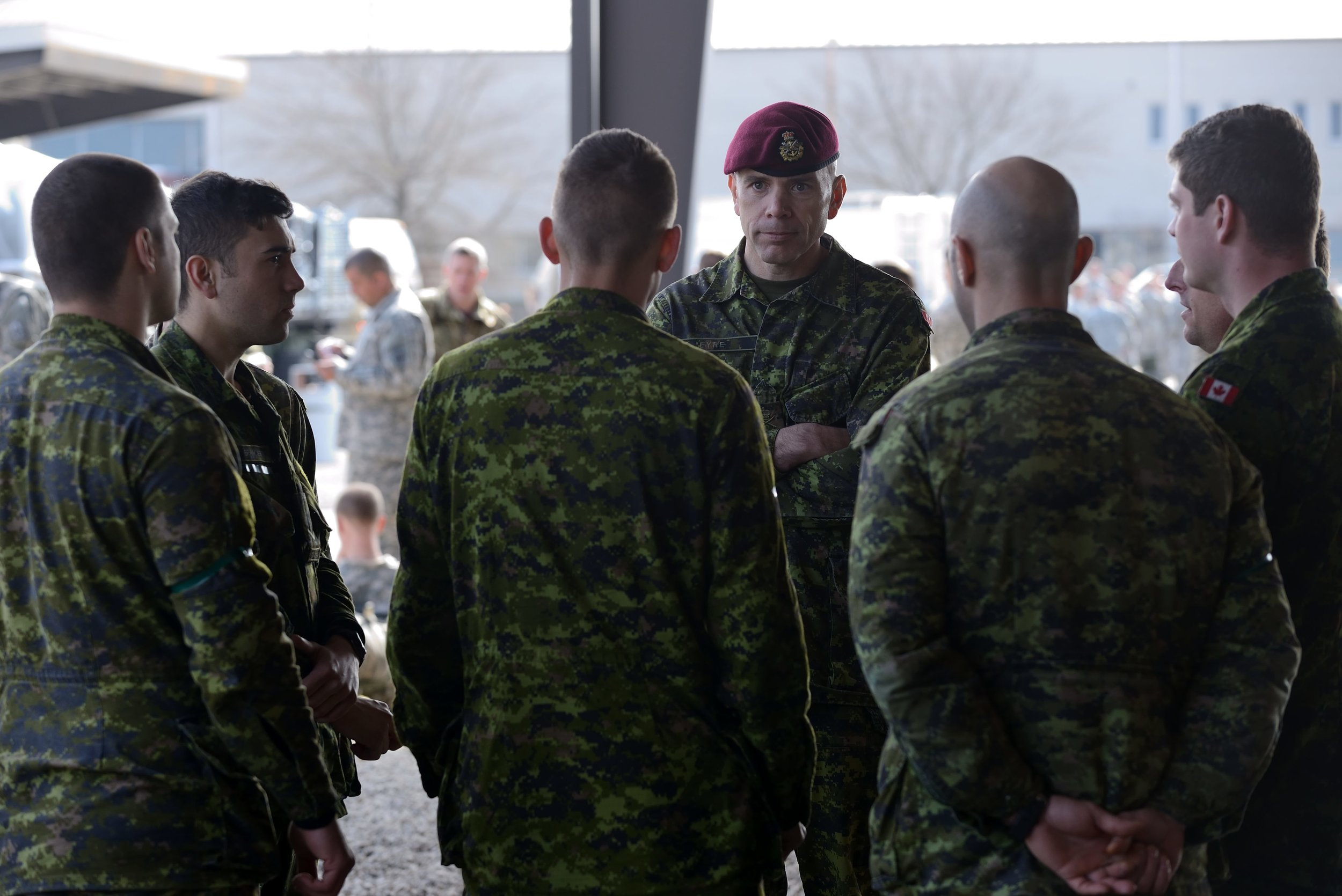 BGen Wayne Eyre speaks to Canadian Armed Forces members as they prepare for the Joint Operational Access Exercise 13 (JOAX 13) held at Fort Bragg, North Carolina. In January 2016, Eyre was promoted to the rank of major-general and appointed Deputy Commander Military Personnel Command (MPC) at NDHQ. The MPC provides functional direction and guidance to the CAF on all matters pertaining to the management of military personnel. (sgt matthew mcgregor, dnd)