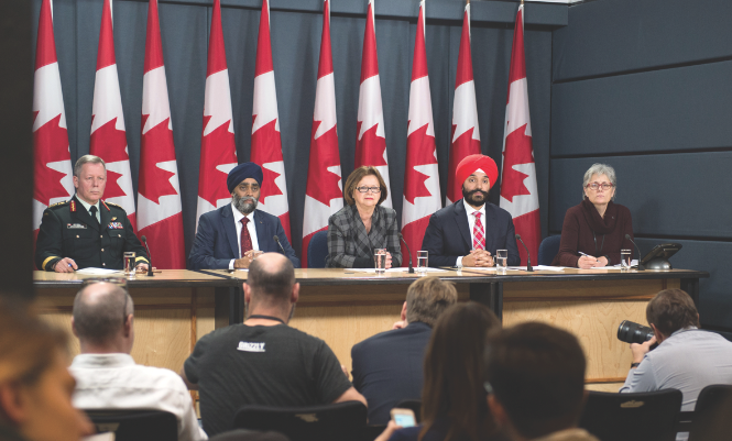 "On November 22, 2016 Chief of the Defence Staff General Jonathan Vance, Defence Minister Harjit Sajjan, Minister of Public Services and Procurement Judy Foote, and Minister of Innovation and Science and Economic Development Navdeep Bains held a press conference in Ottawa to announce the plan to replace the fighter jet fleet. Despite investing in ongoing modernization that will keep the CF-188s ""viable into the middle of the next decade,"" according to the RCAF website, the Liberal government has stated that a stop-gap purchase of additional fighter jets is required. (cpl mark schombs, combat camera)"