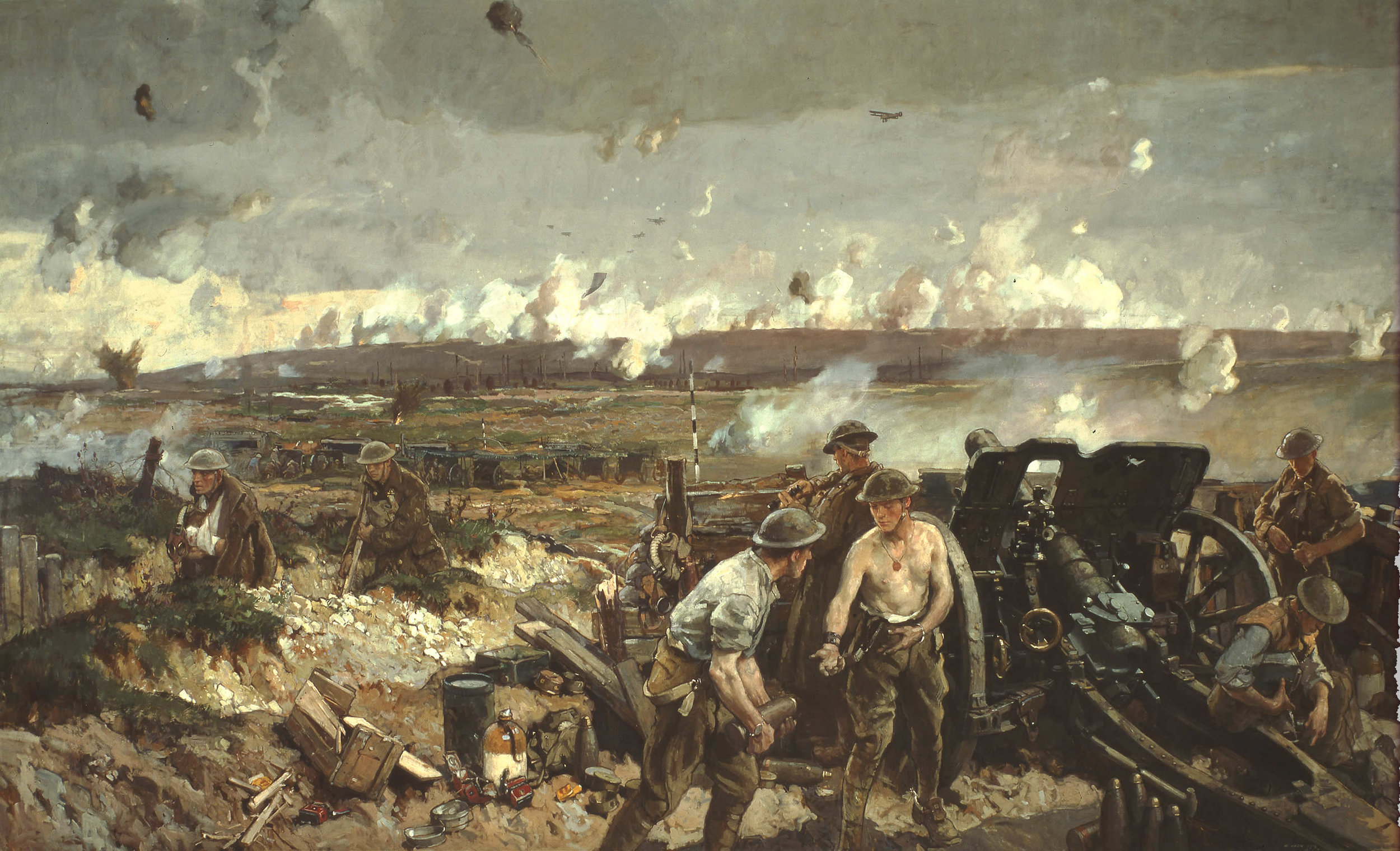 """""""The Taking of Vimy Ridge, Easter Monday 1917."""" Richard Jack was the first Canadian official war artist, appointed in 1916. In this painting, he depicts the crew of an 18-pounder field gun firing at German positions on Vimy Ridge. To the left, wounded soldiers move past the gun towards the rear. (painting by richard jack, beaverbrook collection of war art, cwm   19710261-0160  )"""