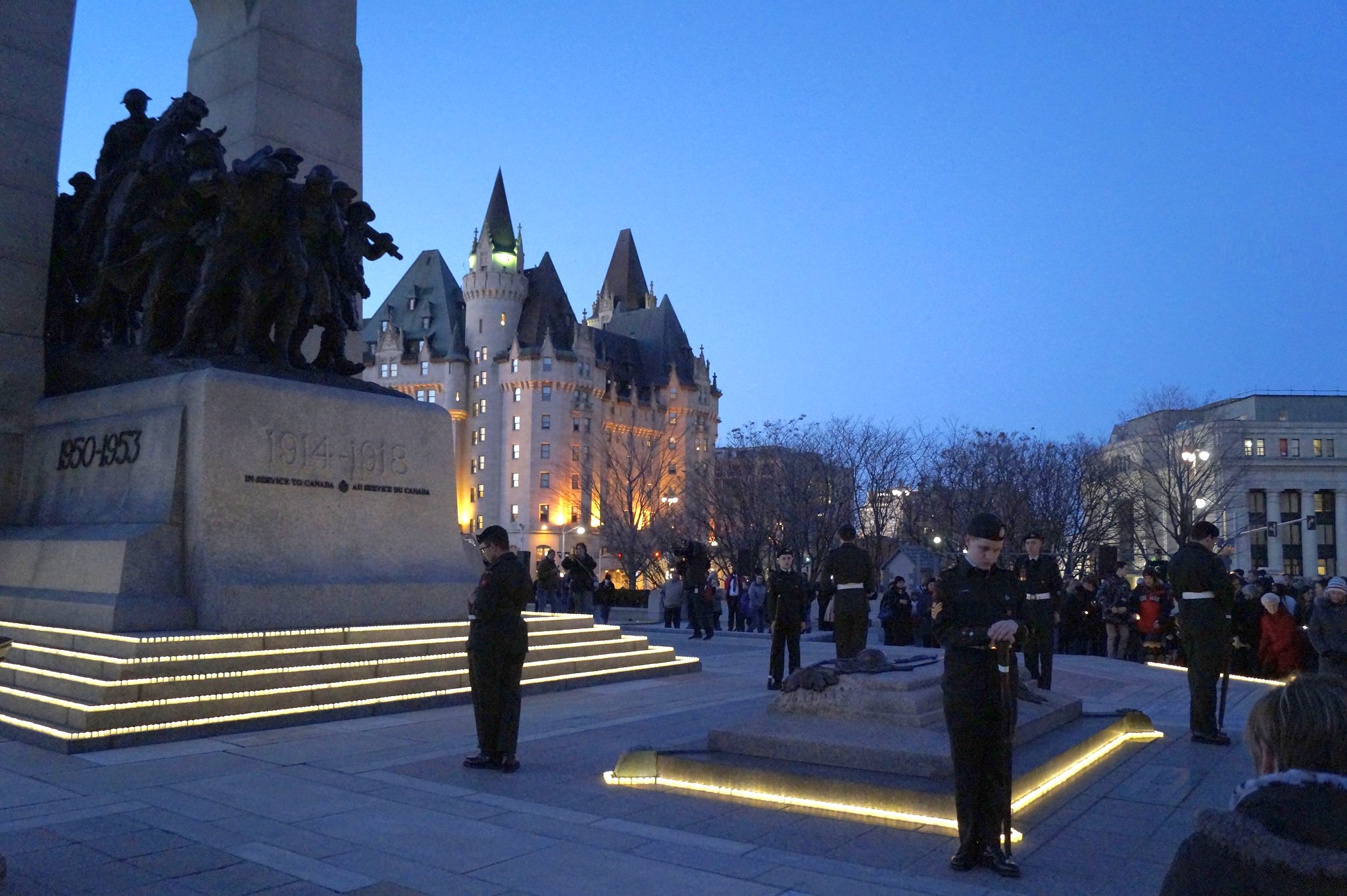 On a beautiful clear evening in Ottawa, hundreds gathered for the annual Army Cadet Battle of Vimy Commemoration candlelight ceremony at the National War Memorial on April 8, 2017. (michel asboth)