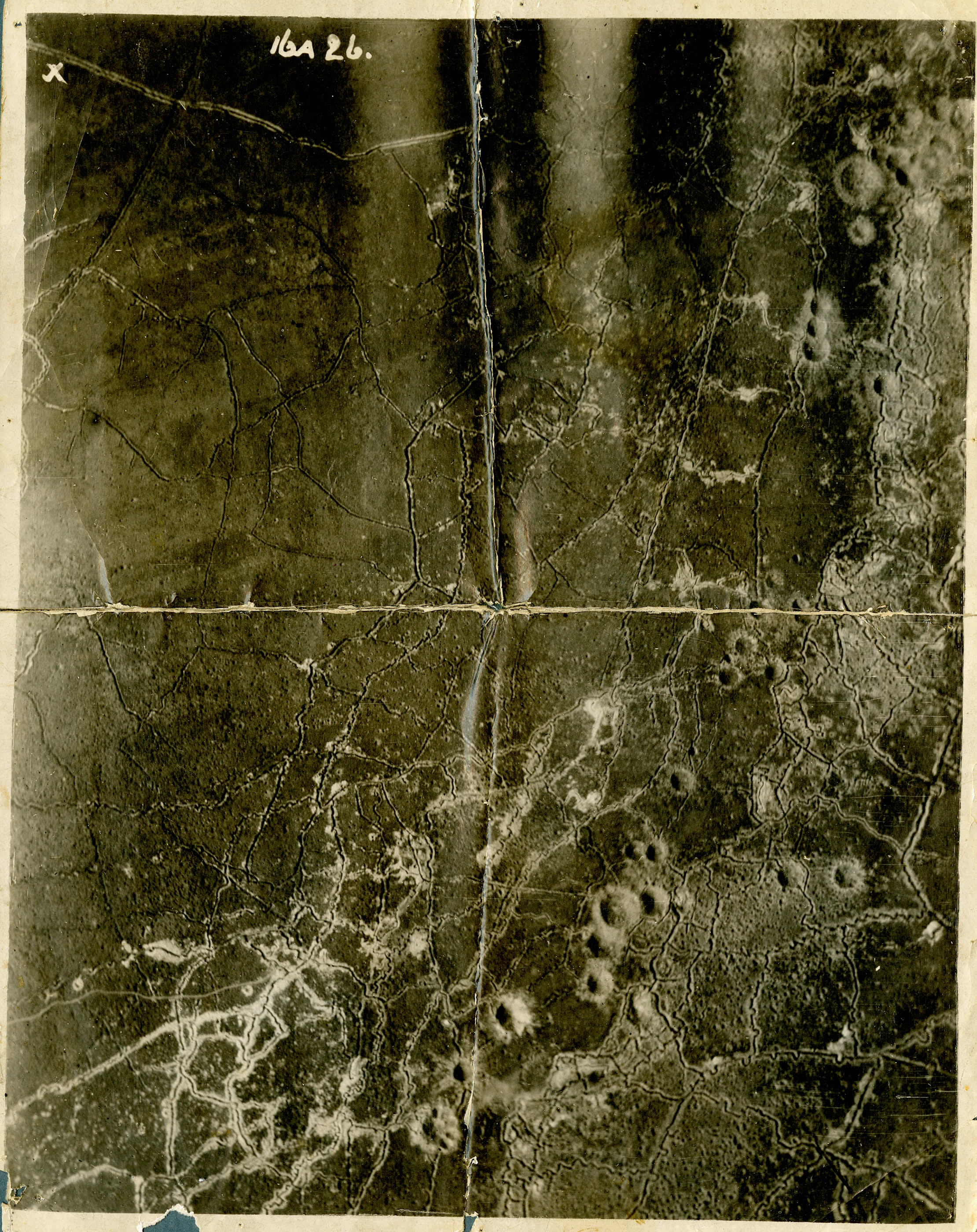 This aerial photograph illustrates the major trench lines around an unknown sector on Vimy Ridge. The large craters, some 10 to 15 metres deep, were made from mine explosions set off by Canadian engineers prior to and during the assault of April 9, 1917. Mines could create great confusion and blow huge gaps in an enemy's defences, but they were also significant obstacles for advancing troops. (george metcalf archival collection, cwm   19740387-060  )