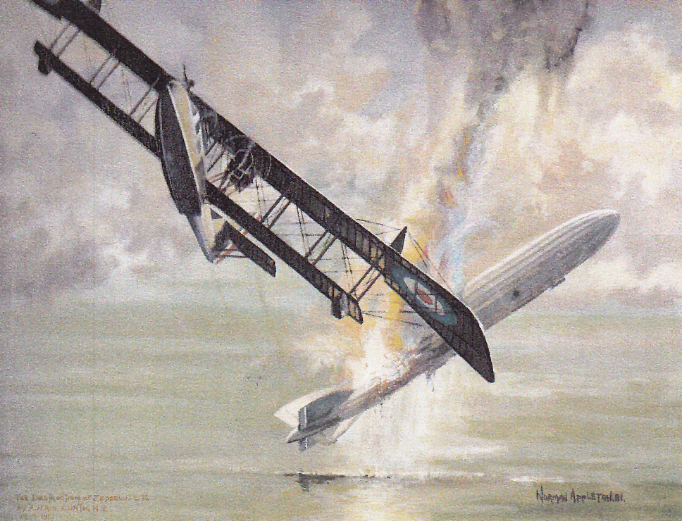 """Destruction of L.22"" by Norman Appleton. Leckie dived about 3,000 feet to bring the speed of his Curtiss H-12 up to the 90 mph necessary to catch the Zeppelin, at which point F/Lt Christopher J. Galpin, manning the forward Lewis machine guns, shot it down. (comox air force museum)"