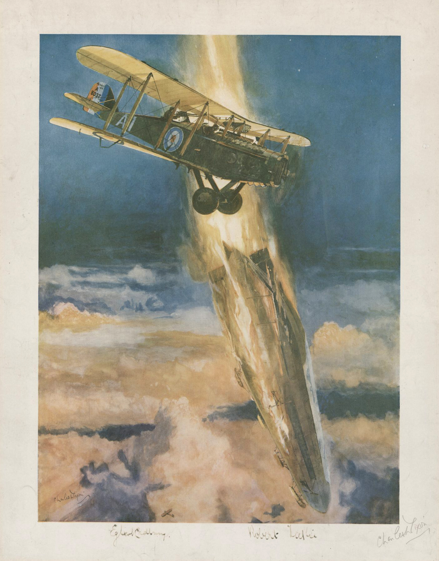 "On August 5, 1918, Cadbury was in the cockpit of de Havilland D.H.4 while Leckie had jumped into the observer's pit behind him. Upon sighting the L.70, Leckie fired incendiary Pomeroy ZPT rounds into the super Zeppelin, blowing a great hole in it. Within a minute, the airship and her crew of 22, including Peter Strasser, disappeared in flames into the North Sea. (""shooting down a zeppelin"" by charles dixon, cwm,   19910216-400  )"