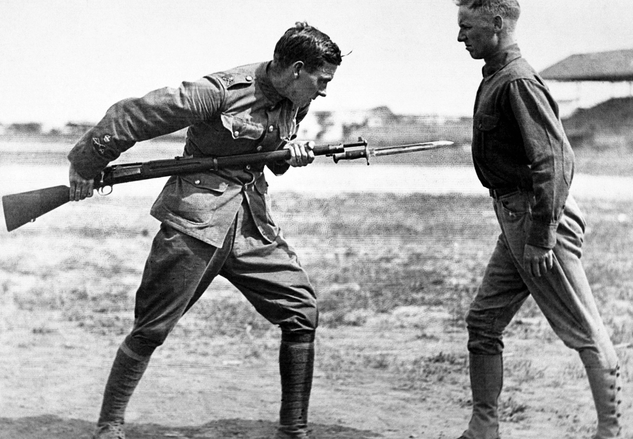 """Bayonet training was a significant part of a soldier's preparation. But as Thomas Dinesen points out in """"Merry Hell,"""" very little training beyond basic weapon instruction had trickled down from the experiences of his fellow Highlanders at Hill 70 and Vimy. Even once in Britain, they learned very little beyond preliminaries of trench warfare. In Dinesen's case, he would receive the Victoria Cross for his agility with a bayonet that he learned at the front."""
