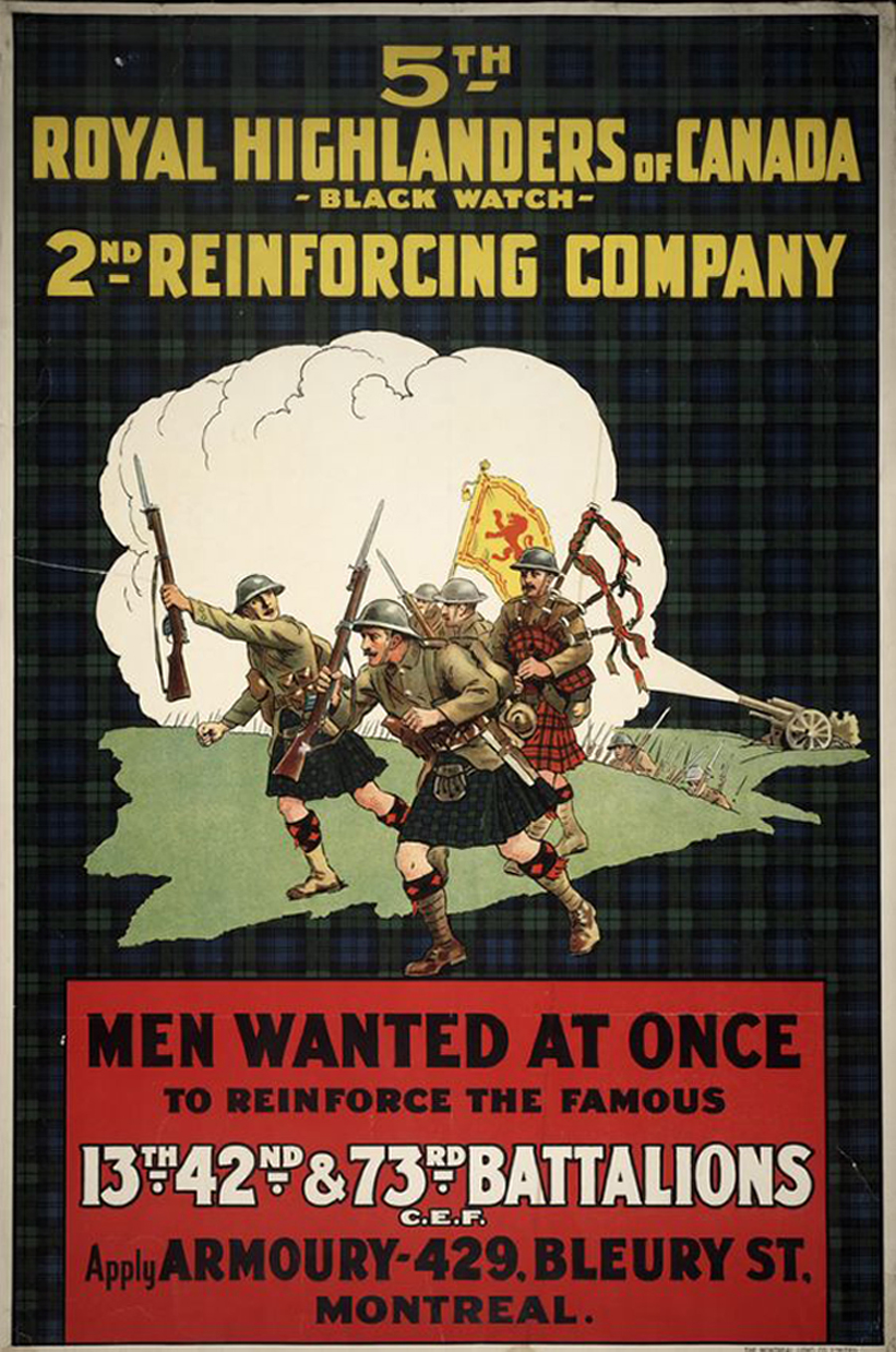 A recruiting poster for the Royal Highlanders of Canada (Black Watch). Thomas Dinesen (right) enlisted with the 42nd Battalion in 1917, which fought as part of the 7th Infantry Brigade, 3rd Canadian Division in France and Flanders until the end of the war.